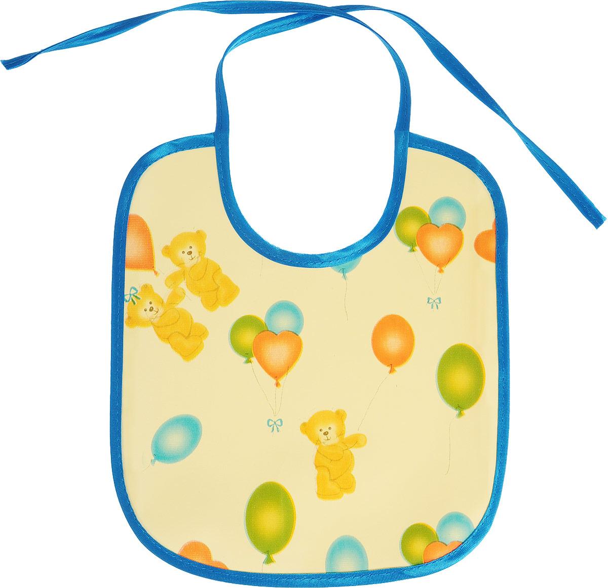 Колорит Нагрудник Мишки с шариками цвет желтый синий 20 х 22 см