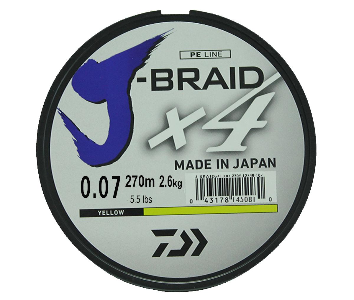 Шнур плетеный Daiwa J-Braid X4, цвет: флуоресцентный желтый, 270 м, 0,07 мм61145Новый 4х жильный шнур J-Braid, DAIWA - шнур высокого класса с удивительным соотношением цены и качества. Качество плетения полностью соответствует японским стандартам и удовлетворяет всем требованиям. Представленные диаметры позволяют использовать шнур для всех техник ловли, начиная от ultra- light ловли окуня, до морской ловли палтуса, трески и т.д