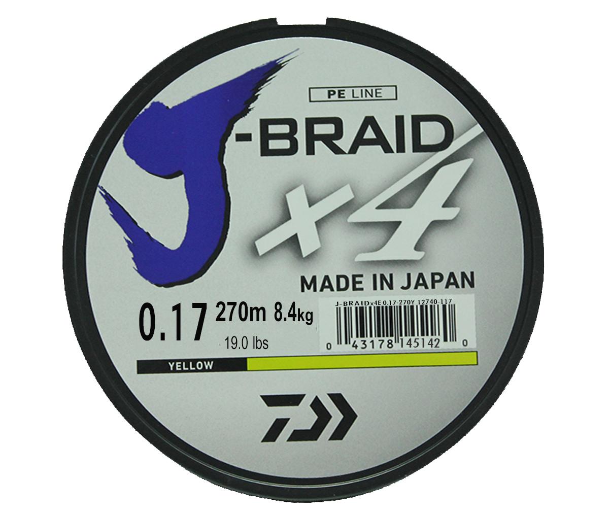 Шнур плетеный Daiwa J-Braid X4, цвет: флуоресцентный желтый, 270 м, 0,17 мм61149Новый 4х жильный шнур J-Braid, DAIWA - шнур высокого класса с удивительным соотношением цены и качества. Качество плетения полностью соответствует японским стандартам и удовлетворяет всем требованиям. Представленные диаметры позволяют использовать шнур для всех техник ловли, начиная от ultra- light ловли окуня, до морской ловли палтуса, трески и т.д
