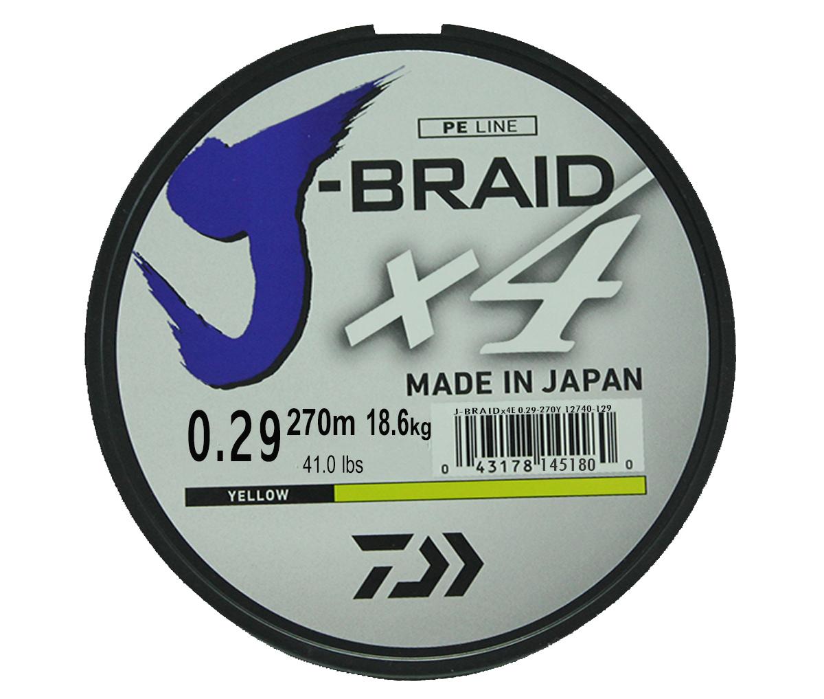 Шнур плетеный Daiwa J-Braid X4, цвет: флуоресцентный желтый, 270 м, 0,29 мм61154Новый 4х жильный шнур J-Braid, DAIWA - шнур высокого класса с удивительным соотношением цены и качества. Качество плетения полностью соответствует японским стандартам и удовлетворяет всем требованиям. Представленные диаметры позволяют использовать шнур для всех техник ловли, начиная от ultra- light ловли окуня, до морской ловли палтуса, трески и т.д