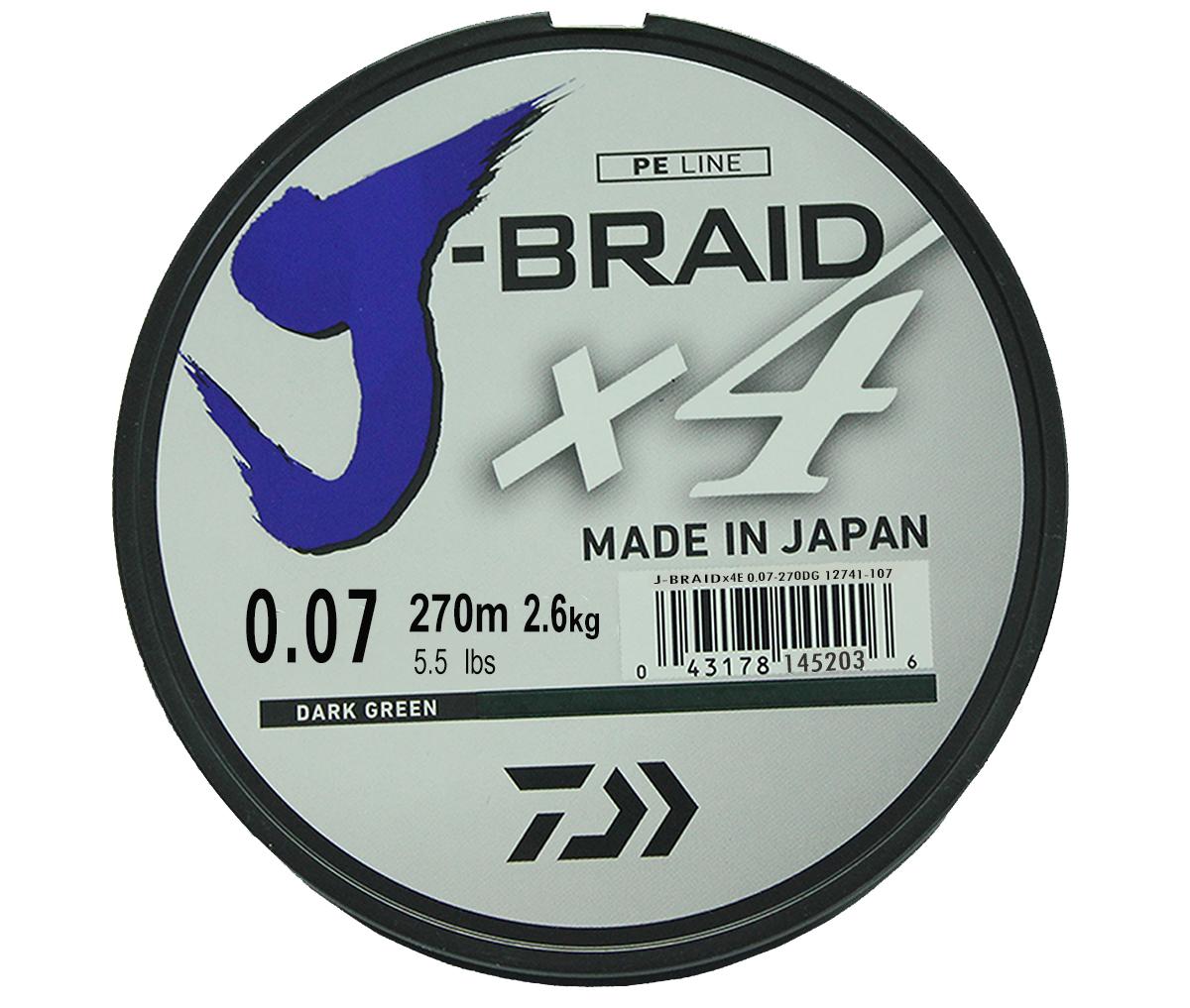 Шнур плетеный Daiwa J-Braid X4, цвет: зеленый, 270 м, 0,07 мм61168Новый 4х жильный шнур J-Braid, DAIWA - шнур высокого класса с удивительным соотношением цены и качества. Качество плетения полностью соответствует японским стандартам и удовлетворяет всем требованиям. Представленные диаметры позволяют использовать шнур для всех техник ловли, начиная от ultra- light ловли окуня, до морской ловли палтуса, трески и т.д