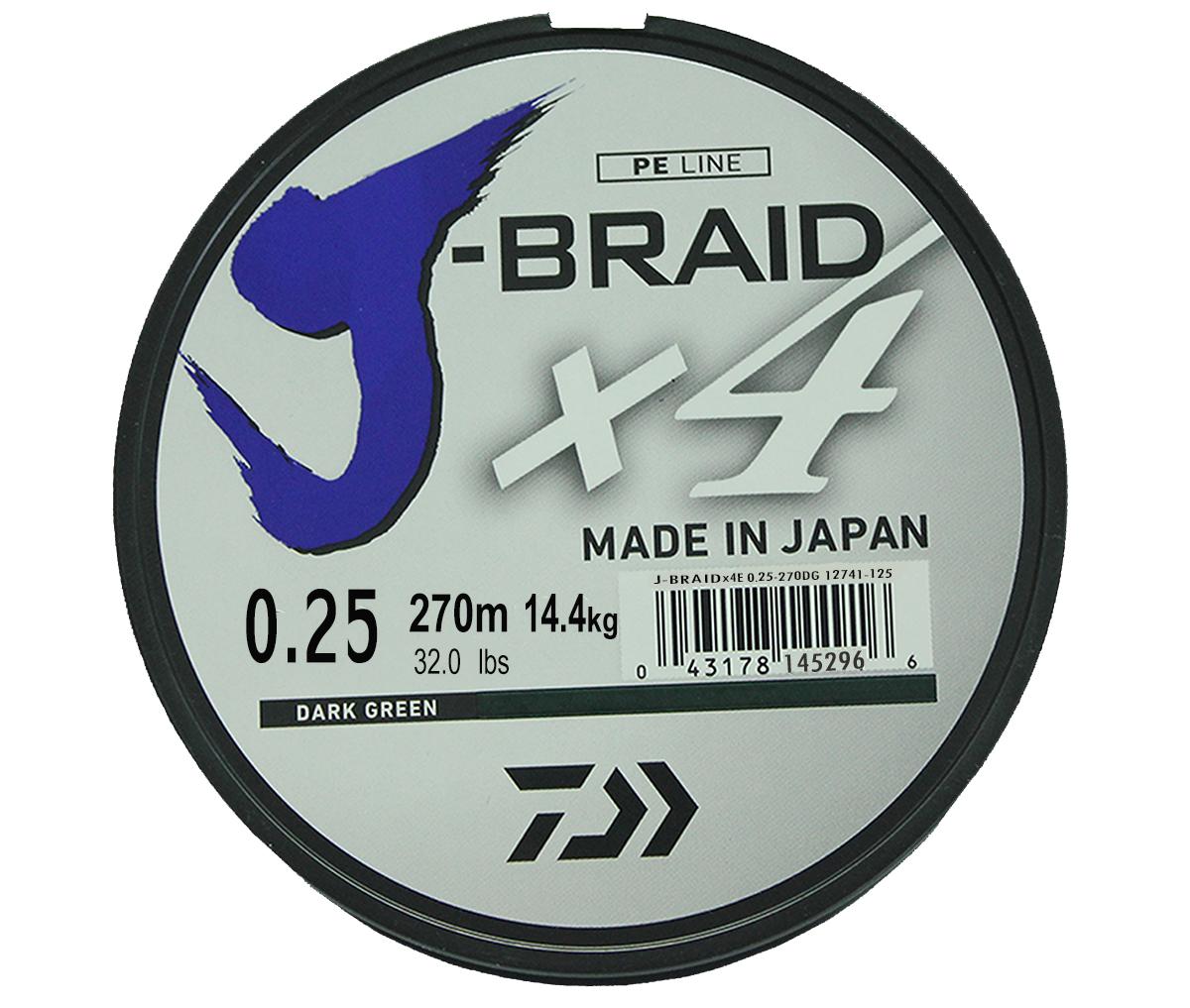 Шнур плетеный DAIWA J-Braid X4, цвет: зеленый, 270 м, 0,25 мм61175Новый 4х жильный шнур J-Braid, DAIWA - шнур высокого класса с удивительным соотношением цены и качества. Качество плетения полностью соответствует японским стандартам и удовлетворяет всем требованиям. Представленные диаметры позволяют использовать шнур для всех техник ловли, начиная от ultra- light ловли окуня, до морской ловли палтуса, трески и т.д