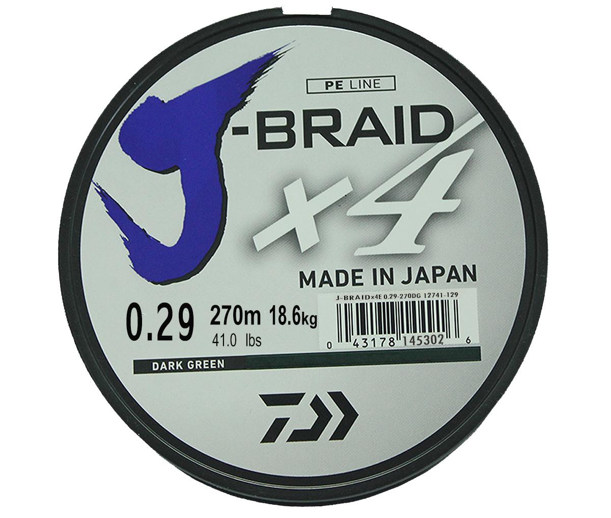 Шнур плетеный Daiwa J-Braid X4, цвет: зеленый, 270 м, 0,29 мм61176Новый 4х жильный шнур J-Braid, DAIWA - шнур высокого класса с удивительным соотношением цены и качества. Качество плетения полностью соответствует японским стандартам и удовлетворяет всем требованиям. Представленные диаметры позволяют использовать шнур для всех техник ловли, начиная от ultra- light ловли окуня, до морской ловли палтуса, трески и т.д
