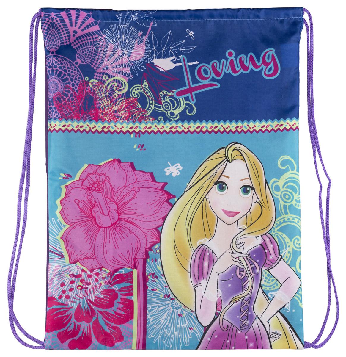 Disney Princess Сумка-рюкзак для обуви Princess цвет голубой PRCB-RT2-880PRCB-RT2-880Сумка для сменной обуви Princess идеально подойдет как для хранения, так и для переноски сменной обуви и одежды. Сумка выполнена из прочного полиэстера и содержит одно вместительное отделение, затягивается сверху шнуром-лямкой и носится как рюкзак. Оформлено изделие изображением персонажа мультфильма Princess.