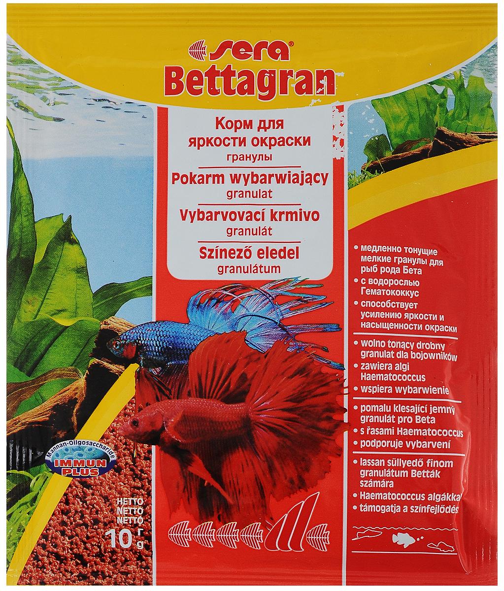Корм для рыб Sera Bettagran, 10 г0103Корм Sera Bettagran предназначен для усиления яркости окраски рыб рода Betta, а также всех видов рыб, кормящихся в средних слоях воды. Высококачественные ингредиенты корма, такие как водоросль Гематококкус, усиливают яркость и насыщенность окраски рыб естественным путем. Медленно тонущие гранулы, надолго сохраняют свою форму в воде, не загрязняя ее. Товар сертифицирован.