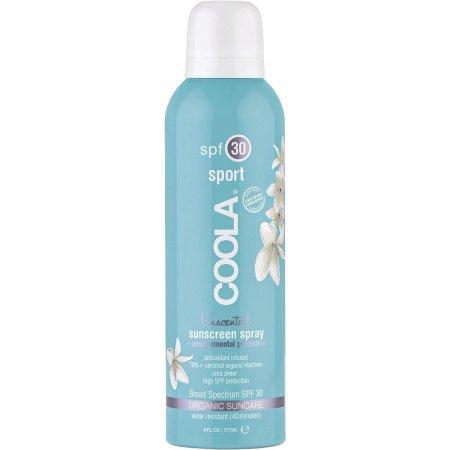 Coola Suncare Солнцезащитный спрей для лица и тела без запаха SPF30 236 млCSS30UNLНа ходу распылите ваш прозрачный солнцезащитный спрей длительного действия без запаха. Обладая высокой степенью защиты SPF 30, этот спрей будет питать, восстанавливать и увлажнять кожу за счет 97% содержащихся в нем, прошедших сертификацию, органических активных компонентов, таких как алоэ, огурец, морские водоросли, экстракт клубники и масло семян малины, натуральный солнцезащитный фактор и противовоспалительный компонент, богатый омегакислотами. Получайте удовольствие от пребывания на солнце вместе с COOLA.