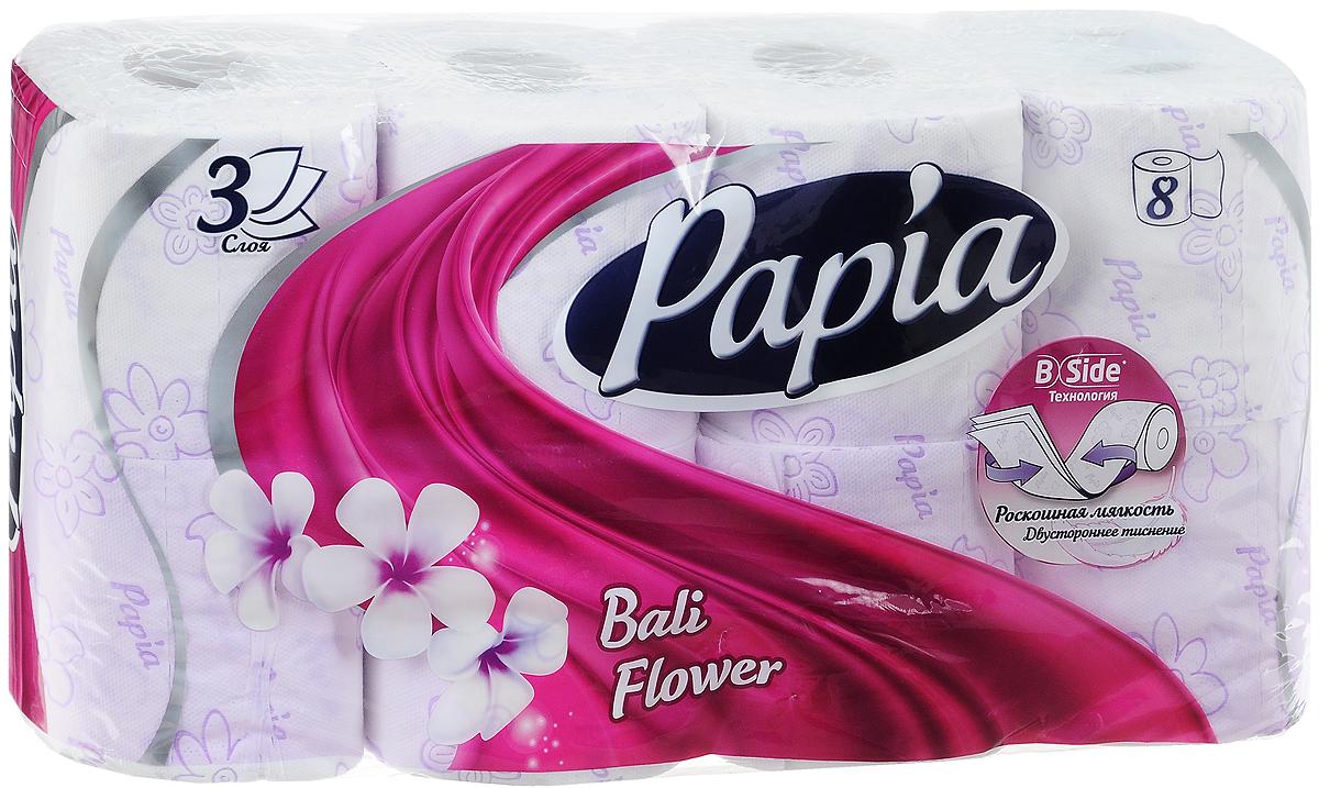 Туалетная бумага Papia Bali Flower ароматизированная, трехслойная, цвет: белый, 8 рулонов15288Трехслойная туалетная бумага Papia Bali Flower изготовлена из целлюлозы высшего качества. Листы оформлены тисненым рисунком в виде цветов и надписи Papia. Мягкая, нежная, но в тоже время прочная, бумага не расслаивается и отрывается строго по линии перфорации. Бумага ароматизирована. Туалетная бумага Papia Bali Flower предназначена для тех, кто хочет, чтобы ванная была самая уютная на свете, а нежный аромат балийского цветка поднимет вам настроение. Товар сертифицирован. Материал: 100% целлюлоза. Количество листов (в одном рулоне): 140 шт. Количество слоев: 3. Размер листа: 9,5 см х 12 см. Длина рулона: 16,8 м. Уважаемые клиенты! Обращаем ваше внимание на возможные изменения в дизайне упаковки. Качественные характеристики товара остаются неизменными. Поставка осуществляется в зависимости от наличия на складе.