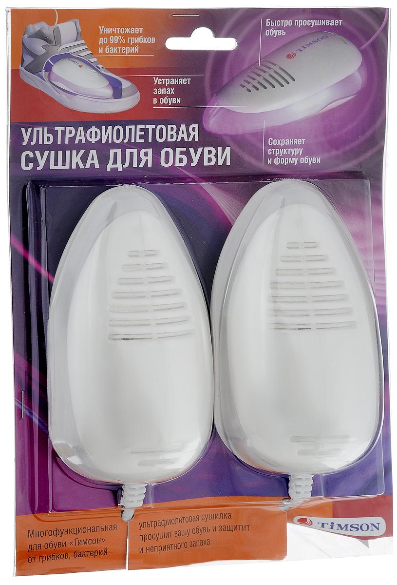 Ультрафиолетовая сушка для обуви Timson, цвет: молочный2416Противогрибковая и антибактериальная сушка для обуви Timson с ультрафиолетовым излучением, выполненная из пластика, является уникальным высокоэффективным изобретением. Сушка Timson позволяет уничтожить грибки, бактерии и неприятный запах внутри обуви. Регулярное использование данного набора позволит не только уничтожить грибки, бактерии и запах, но и предотвратит их появление в обуви. Прибор обладает ярко выраженным дезодорирующим эффектом. Также благодаря такой сушке не портится внешний вид обуви и продлевается срок ношения. Изделие может работать беспрерывно 24 часа. Однако рекомендуется обрабатывать обувь 6-10 часов. Сушка комплектуется ультрафиолетовыми излучателями, которые способны непрерывно работать до 8 часов без перегрева. Прибор оснащен конвекционными окнами, сквозь которые УФ-излучение попадает внутрь обуви и производит обеззараживание, нагрев и конвекцию воздуха. Регулярное использование этого электроприбора не приводит к...