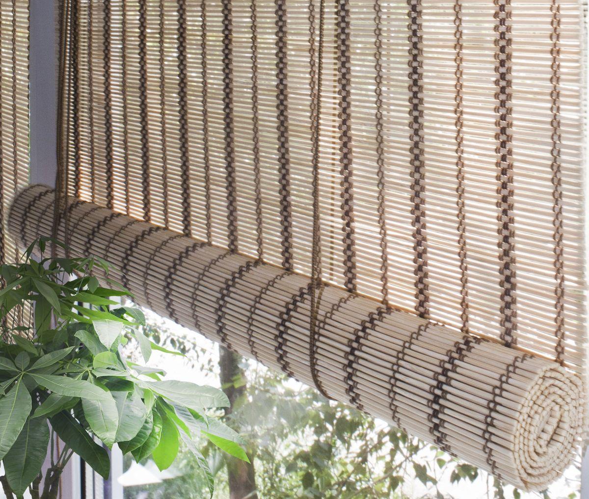 Штора рулонная Эскар Бамбук, цвет: золотой беж, ширина 160 см, высота 160 см70140160160При оформлении интерьера современных помещений многие отдают предпочтение природным материалам. Бамбуковые рулонные шторы - одно из натуральных изделий, способное сделать атмосферу помещения более уютной и в то же время необычной. Свойства бамбука уникальны: он экологически чист, так как быстро вырастает, благодаря чему не успевает накопить вредные вещества из окружающей среды. Кроме того, растение обладает противомикробным и антибактериальным действием. Занавеси из бамбука безопасно использовать в помещениях, где находятся новорожденные дети и люди, склонные к аллергии. Они незаменимы для тех, кто заботится о своем здоровье и уделяет внимание высокому уровню жизни. Бамбуковые рулонные шторы представляют собой полотно, состоящее из тонких бамбуковых стеблей и сворачиваемое в рулон. Римские бамбуковые шторы, как и тканевые римские шторы, при поднятии образуют крупные складки, которые прекрасно декорируют окно. Особенность устройства полотна позволяет свободно пропускать...