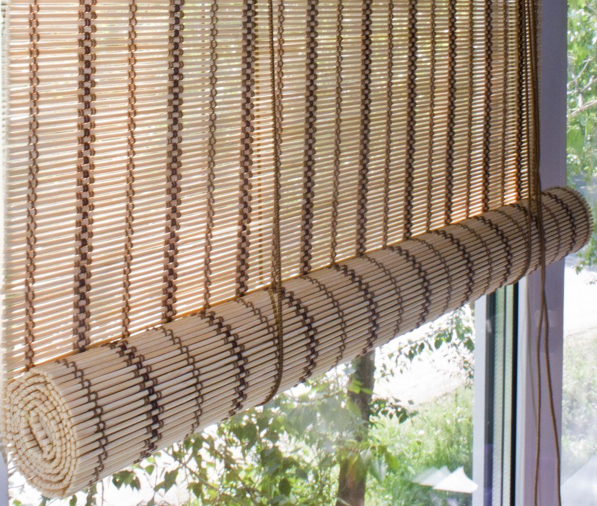 Штора рулонная Эскар Бамбук, цвет: песочный, ширина 80 см, высота 160 см7014180160При оформлении интерьера современных помещений многие отдают предпочтение природным материалам. Бамбуковые рулонные шторы – одно из натуральных изделий, способное сделать атмосферу помещения более уютной и в то же время необычной. Свойства бамбука уникальны: он экологически чист, так как быстро вырастает, благодаря чему не успевает накопить вредные вещества из окружающей среды. Кроме того, растение обладает противомикробным и антибактериальным действием. Занавеси из бамбука безопасно использовать в помещениях, где находятся новорожденные дети и люди, склонные к аллергии. Они незаменимы для тех, кто заботится о своем здоровье и уделяет внимание высокому уровню жизни.