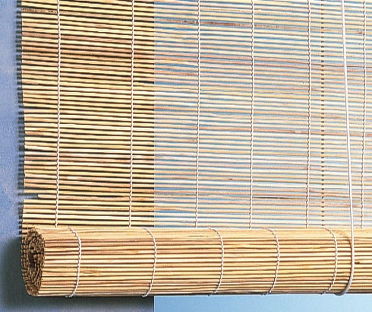 Штора рулонная Эскар Бамбук, цвет: натуральный, ширина 140 см, высота 160 см71000140160При оформлении интерьера современных помещений многие отдают предпочтение природным материалам. Бамбуковые рулонные шторы - одно из натуральных изделий, способное сделать атмосферу помещения более уютной и в то же время необычной. Свойства бамбука уникальны: он экологически чист, так как быстро вырастает, благодаря чему не успевает накопить вредные вещества из окружающей среды. Кроме того, растение обладает противомикробным и антибактериальным действием. Занавеси из бамбука безопасно использовать в помещениях, где находятся новорожденные дети и люди, склонные к аллергии. Они незаменимы для тех, кто заботится о своем здоровье и уделяет внимание высокому уровню жизни. Бамбуковые рулонные шторы представляют собой полотно, состоящее из тонких бамбуковых стеблей и сворачиваемое в рулон. Римские бамбуковые шторы, как и тканевые римские шторы, при поднятии образуют крупные складки, которые прекрасно декорируют окно. Особенность устройства полотна позволяет свободно пропускать...