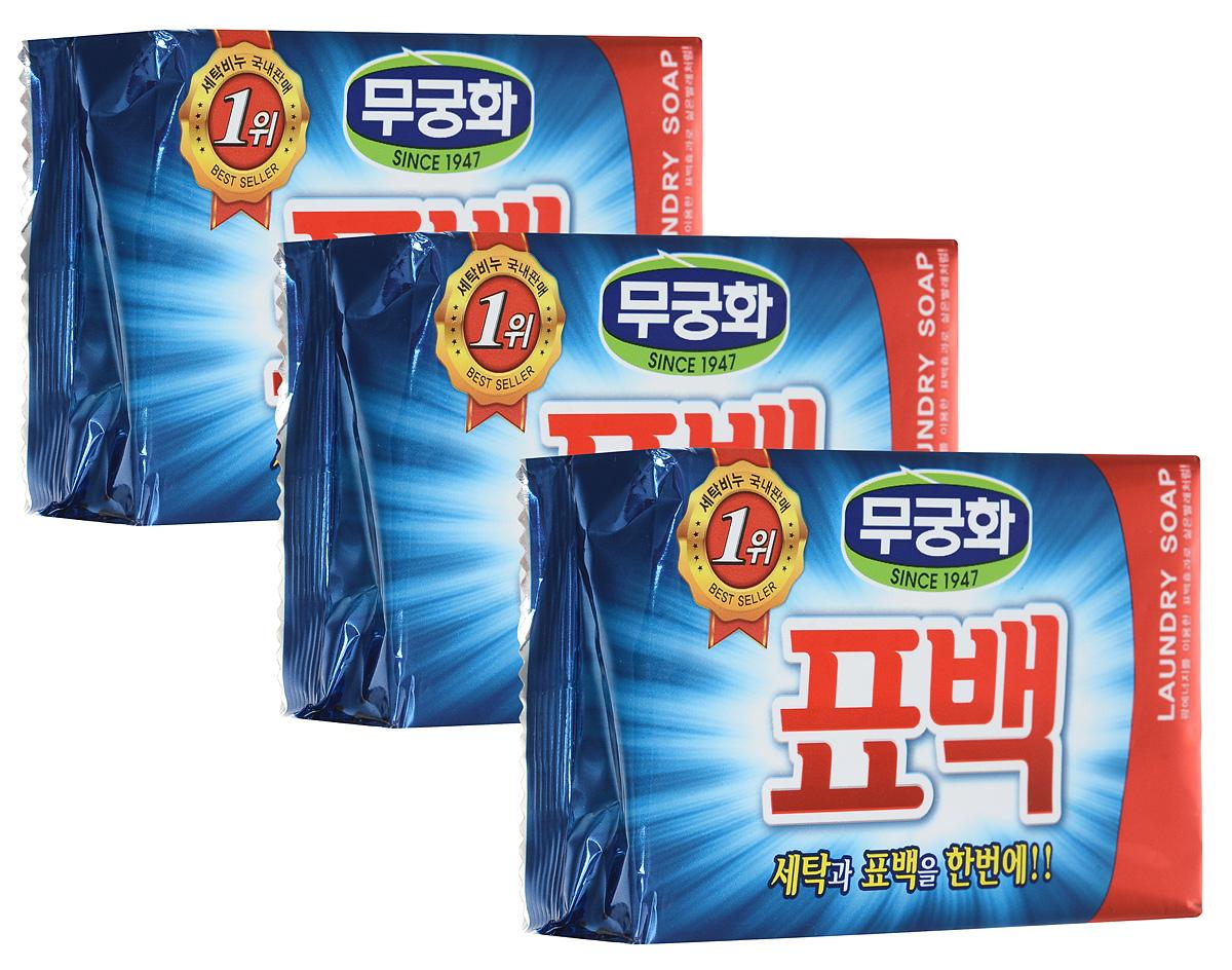 Набор хозяйственного мыла Mukunghwa, с эффектом кипячения, 230 г, 3 шт4623720836559Набор Mukunghwa состоит из трех кусков хозяйственного мыла. Жирные кислоты и оптический отбеливатель, входящие в состав этого мыла, придают белью эффект кипячения. Превосходно отстирывает все виды пятен, в том числе кровь, фруктовый сок, жир и масло, сохраняя при этом яркость цветных тканей и естественную белизну белого белья. Уважаемые клиенты! Обращаем ваше внимание на возможные изменения в дизайне упаковки. Качественные характеристики товара остаются неизменными. Поставка осуществляется в зависимости от наличия на складе.