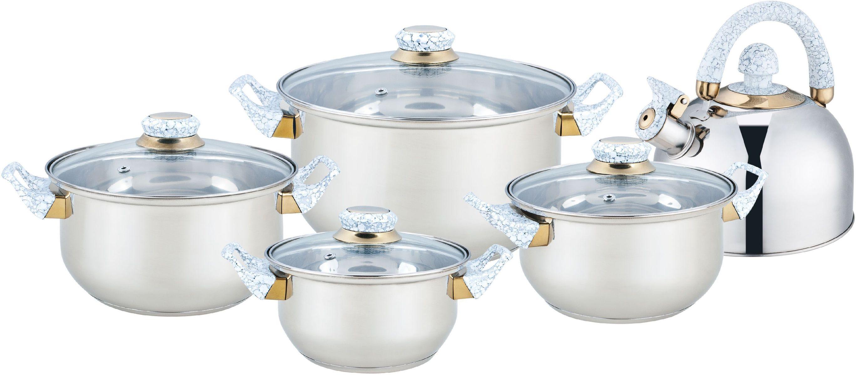Набор посуды Bekker Classic, 9 предметов. BK-4601BK-46019 предметов: 4 кастрюли со стеклянными крышками : 16см/1,6л, 18см/2,4л, 20см/2,8л, 24см/5,6л и чайник метал.со свистком 2л. Ручки бакелитовые под мрамор, поверхность зеркальная, капсулированное дно, толщина стенки 0,3 мм, дна 1,0 мм. Подходит для чистки в посудомоечной машине. Состав: нержавеющая сталь.