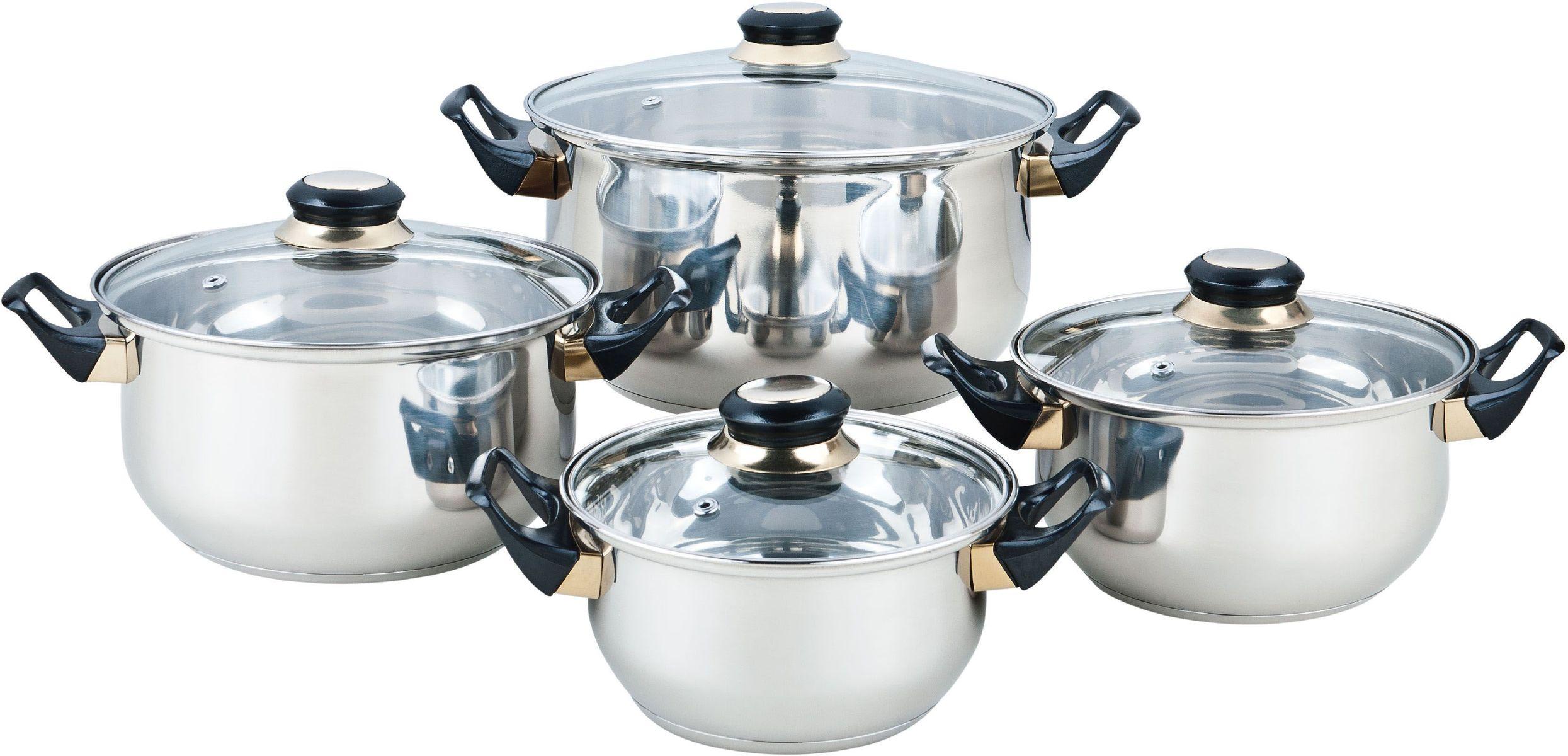Набор посуды Bekker Classic, 8 предметов. BK-4602BK-46028 предметов: 4 кастрюли со стеклянными крышками 16см/1,5л, 18см/2,1л, 20см/3л, 24см/6л. Ручки бакелитовые черные, поверхность зеркальная, капсулированное дно, толщина стенки 0,3 мм, дна 1,0 мм. Подходит для чистки в посудомоечной машине. Состав: нержавеющая сталь.