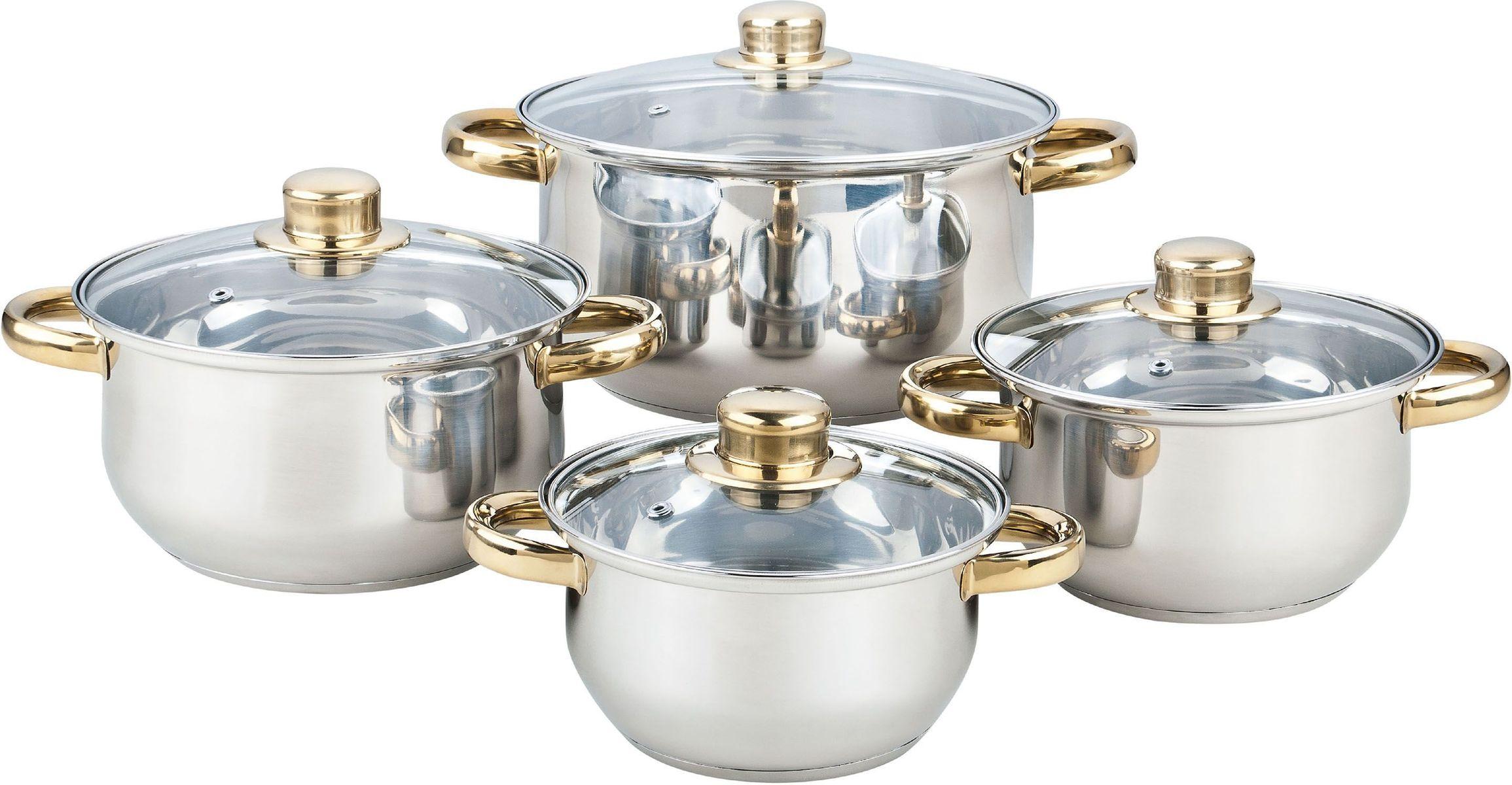Набор посуды Bekker Classic, 8 предметов. BK-4603BK-46038 предметов: 4 кастрюли со стеклянными крышками 16см/1,5л, 18см/2,1л, 20см/3л, 24см/6л. Ручки из нерж.стали под золото, поверхность зеркальная, капсулированное дно, толщина стенки 0,3 мм, дна 1,0 мм. Подходит для чистки в посудомоечной машине. Состав: нержавеющая сталь.