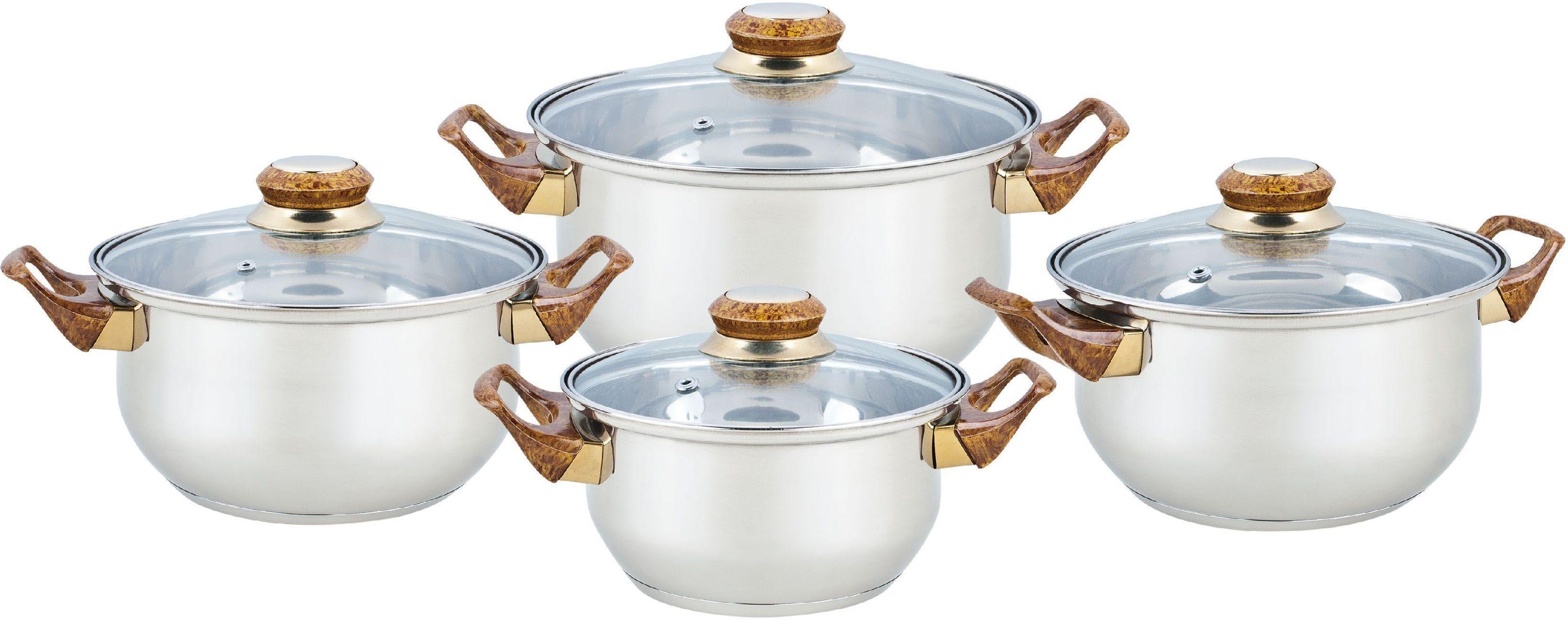 Набор посуды Bekker Classic, 8 предметов. BK-4604BK-46048 предметов: 4 кастрюли со стеклянными крышками 16см/1,5л, 18см/2,1л, 20см/3л, 24см/6л. Ручки бакелитовые под дерево, поверхность зеркальная, капсулированное дно, толщина стенки 0,3 мм, дна 1,0 мм. Подходит для чистки в посудомоечной машине. Состав: нержавеющая сталь.