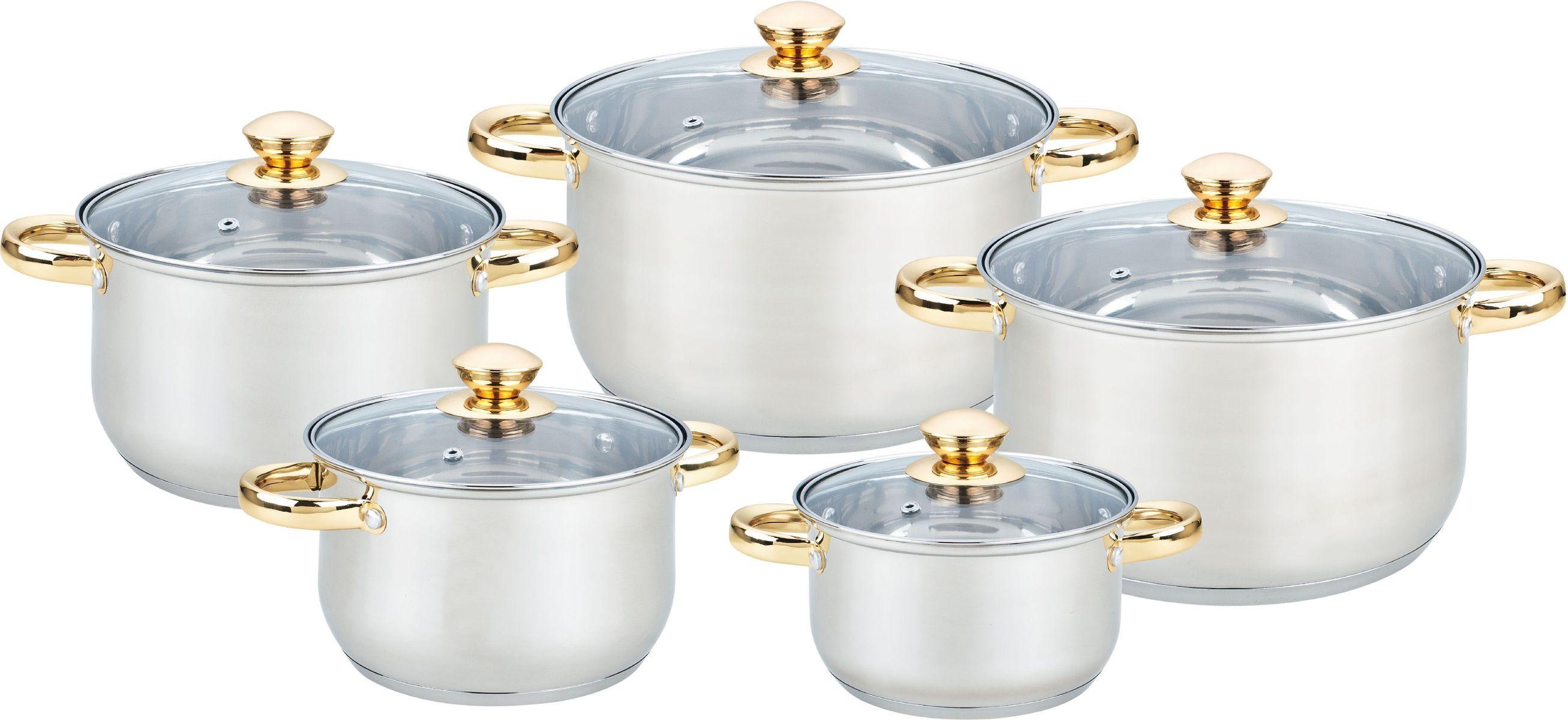 Набор посуды Bekker Jumbo. BK-2596BK-259610 предметов: 5 кастрюль со стеклянными крышками : 16см/2,1л, 18см/2,9л, 20см/3,9л, 24см/6,5л, 24см/6,5л. Ручки из нерж.стали под золото, поверхность зеркальная, мерная шкала на внутренней стенке, капсулированное дно, толщина стенки 0,5 мм, дна 3,5 мм. Подходит для индукц.плит и чистки в посудомоечной машине. Состав: нержавеющая сталь.