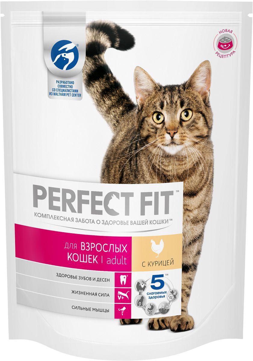 Корм сухой Perfect Fit, для взрослых кошек, с курицей, 650 г42737