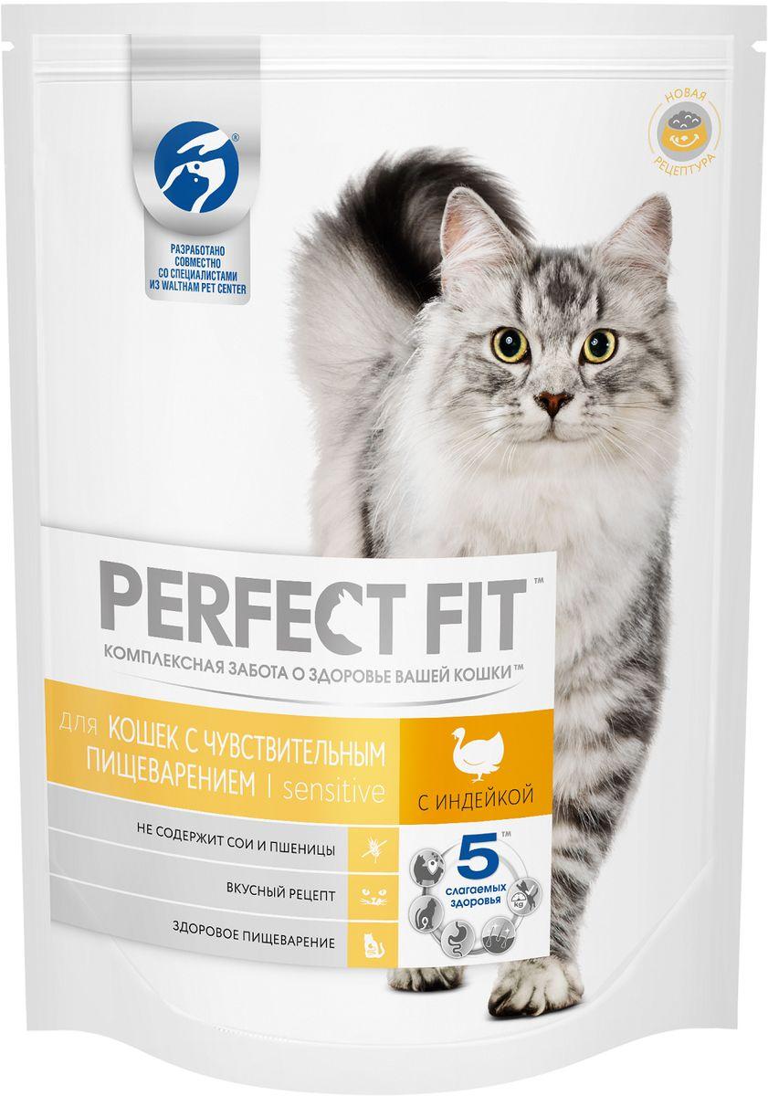 Корм сухой Perfect Fit, для чувствительных кошек, с индейкой, 650 г42738