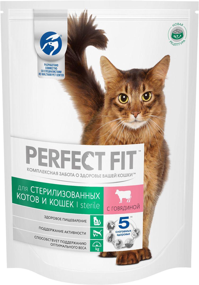 Корм сухой Perfect Fit, для стерилизованных кошек, с говядиной, 650 г42739