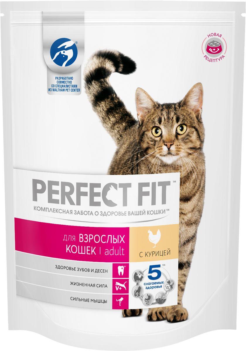 Корм сухой Perfect Fit, для взрослых кошек, с курицей, 190 г61463