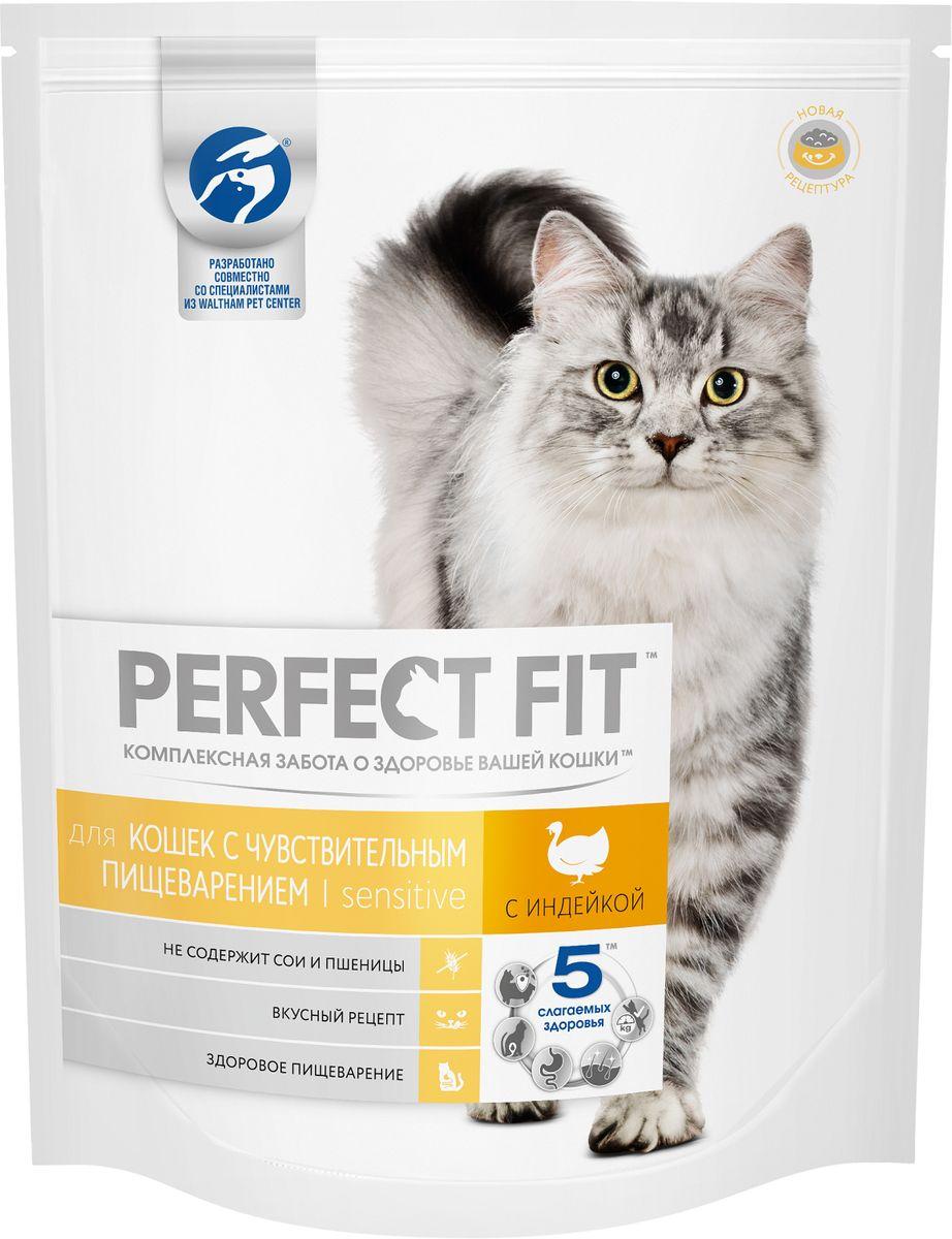 Корм сухой Perfect Fit, для чувствительных кошек, с индейкой, 1,2 кг42741