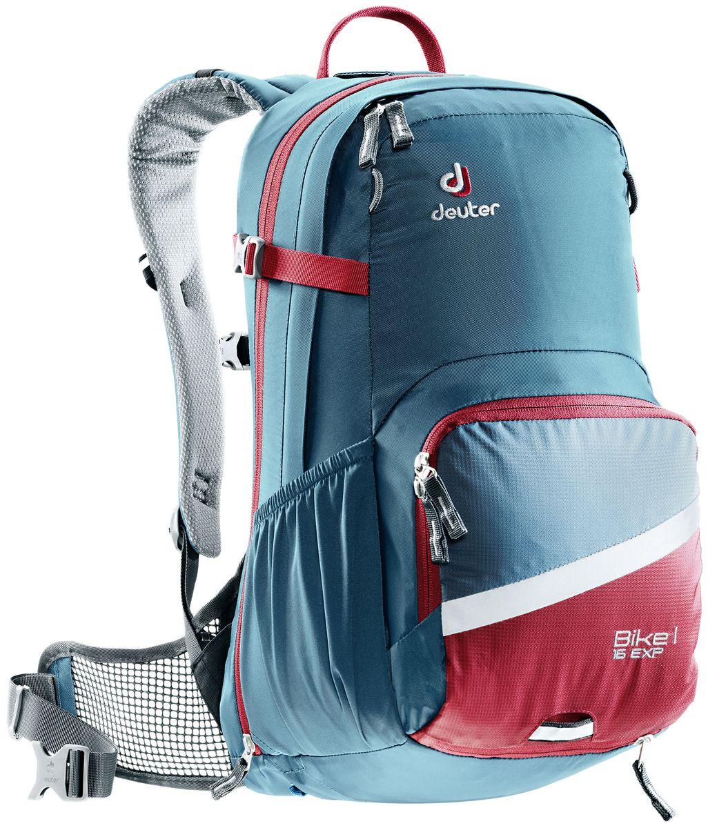Рюкзак Deuter Bike I Air EXP 16, цвет: бордовый, темно-синий, 16 л3203017_3564- съемный держатель для шлема - прекрасная вентиляция, плотное прилегание к спине, благодаря системе Airstripes с регулируемыми стойками каркаса (Bike I 18 SL & 20) - максимальная вентиляция благодаря сетчатой FlexLite спинке AIRCOMFORT (Bike I Air EXP 16) - хорошо вентилируемые, легкие, сетчатые набедренные крылья пояса (Bike I 18 SL, Air EXP 16 & 20) - поясной ремень (Bike I 14) - чехол от дождя на молнии - удобные плечевые лямки с мягкими краями Soft-Edge - съемный, складывающийся дождевик - компрессионные ремни - большой карман на молнии с органайзером и карабинчиком для ключей и отделениями для мобильного телефона, бумажника, инструментов и т.д. - легкодоступное отделение на молнии для смартфона или карты на задней стороне - эластичные боковые карманы - большие 3M отражающие полосы на переднем кармане - светоотражающая петля для габаритного фонарика - отделение для влажной одежды - совместимость с питьевой системой ...