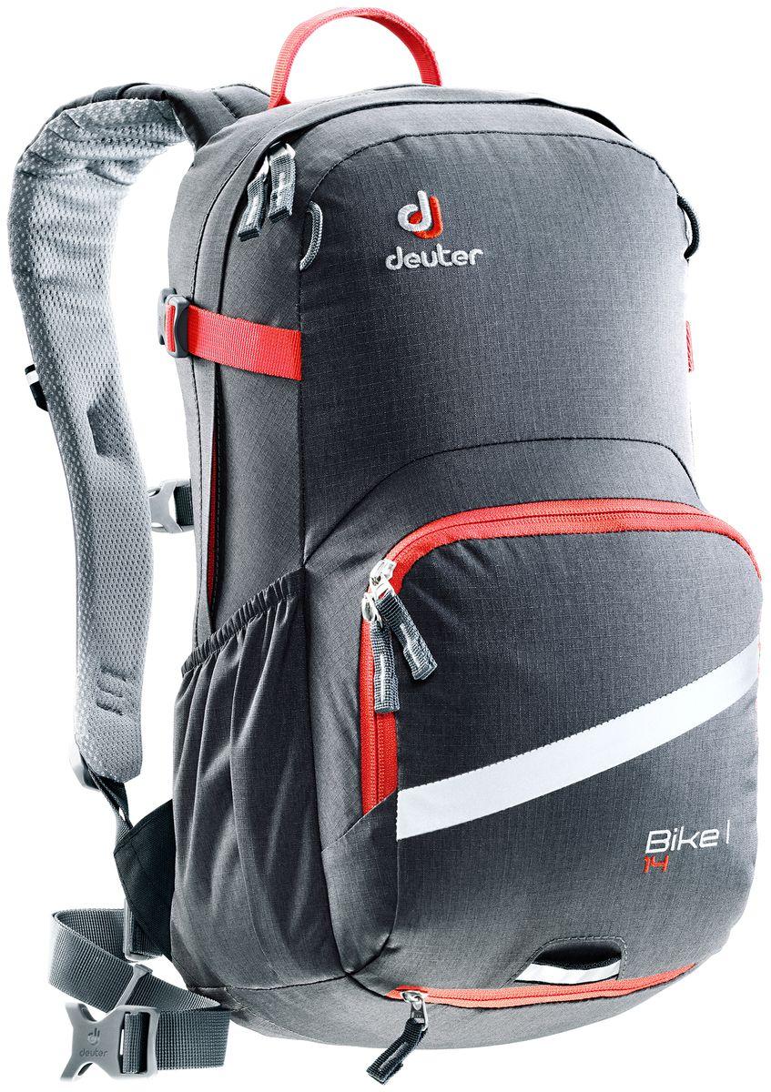 Рюкзак Deuter Bike I 14, цвет: красный, темно-серый, 14 л3203117_4906- съемный держатель для шлема - прекрасная вентиляция, плотное прилегание к спине, благодаря системе Airstripes с регулируемыми стойками каркаса (Bike I 18 SL & 20) - максимальная вентиляция благодаря сетчатой FlexLite спинке AIRCOMFORT (Bike I Air EXP 16) - хорошо вентилируемые, легкие, сетчатые набедренные крылья пояса (Bike I 18 SL, Air EXP 16 & 20) - поясной ремень (Bike I 14) - чехол от дождя на молнии - удобные плечевые лямки с мягкими краями Soft-Edge - съемный, складывающийся дождевик - компрессионные ремни - большой карман на молнии с органайзером и карабинчиком для ключей и отделениями для мобильного телефона, бумажника, инструментов и т.д. - легкодоступное отделение на молнии для смартфона или карты на задней стороне - эластичные боковые карманы - большие 3M отражающие полосы на переднем кармане - светоотражающая петля для габаритного фонарика - отделение для влажной одежды - совместимость с питьевой системой ...