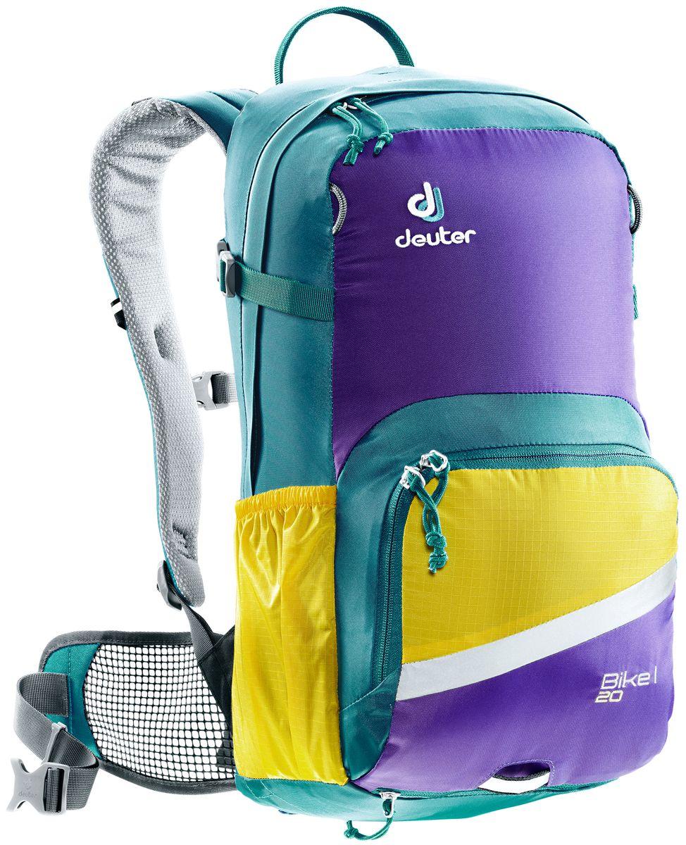 Рюкзак Deuter Bike I 20, цвет: голубой, фиолетовый, 20 л3203317_3363- съемный держатель для шлема - прекрасная вентиляция, плотное прилегание к спине, благодаря системе Airstripes с регулируемыми стойками каркаса (Bike I 18 SL & 20) - максимальная вентиляция благодаря сетчатой FlexLite спинке AIRCOMFORT (Bike I Air EXP 16) - хорошо вентилируемые, легкие, сетчатые набедренные крылья пояса (Bike I 18 SL, Air EXP 16 & 20) - поясной ремень (Bike I 14) - чехол от дождя на молнии - удобные плечевые лямки с мягкими краями Soft-Edge - съемный, складывающийся дождевик - компрессионные ремни - большой карман на молнии с органайзером и карабинчиком для ключей и отделениями для мобильного телефона, бумажника, инструментов и т.д. - легкодоступное отделение на молнии для смартфона или карты на задней стороне - эластичные боковые карманы - большие 3M отражающие полосы на переднем кармане - светоотражающая петля для габаритного фонарика - отделение для влажной одежды - совместимость с питьевой системой ...