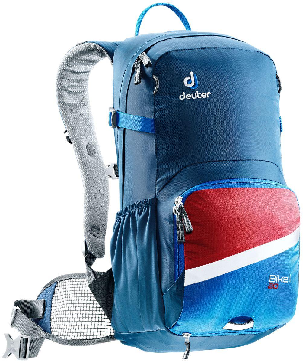 Рюкзак Deuter Bike I 20, цвет: синий, темно-синий, 20 л3203317_3980- съемный держатель для шлема - прекрасная вентиляция, плотное прилегание к спине, благодаря системе Airstripes с регулируемыми стойками каркаса (Bike I 18 SL & 20) - максимальная вентиляция благодаря сетчатой FlexLite спинке AIRCOMFORT (Bike I Air EXP 16) - хорошо вентилируемые, легкие, сетчатые набедренные крылья пояса (Bike I 18 SL, Air EXP 16 & 20) - поясной ремень (Bike I 14) - чехол от дождя на молнии - удобные плечевые лямки с мягкими краями Soft-Edge - съемный, складывающийся дождевик - компрессионные ремни - большой карман на молнии с органайзером и карабинчиком для ключей и отделениями для мобильного телефона, бумажника, инструментов и т.д. - легкодоступное отделение на молнии для смартфона или карты на задней стороне - эластичные боковые карманы - большие 3M отражающие полосы на переднем кармане - светоотражающая петля для габаритного фонарика - отделение для влажной одежды - совместимость с питьевой системой ...