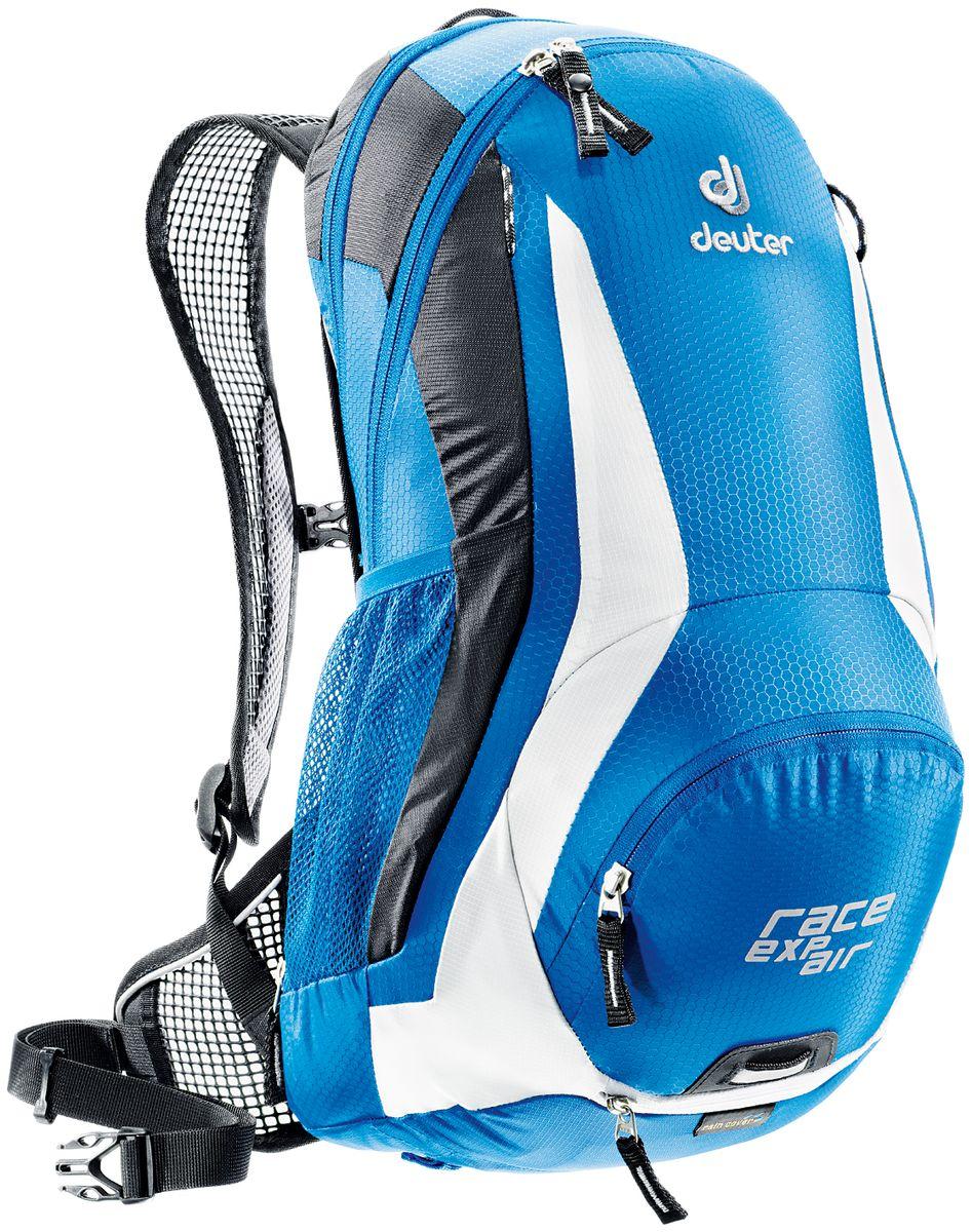 Рюкзак Deuter Race EXP Air, цвет: белый, синий, 12 л32133_3170- увеличивающийся объем - максимальная вентиляция спины благодаря системе Aircomfort Flexlite back system - плотная посадка благодаря сетчатым крыльям набедренного пояса - эргономичные сетчатые лямки и легко регулируемый нагрудный ремешок создают дополнительный комфорт - съемное крепление для шлема - передний карман на молнии для ценных вещей - карман для влажной одежды - боковые сетчатые карманы - отражатели 3M спереди, сзади и по бокам - светоотражающая петля для габаритного фонарика - совместимость с питьевой системой Вес: 870 г Объем: 12 + 3 л Размеры: 47 x 24 x 22 см Материал: Hexlite 100 / Ripstop 210