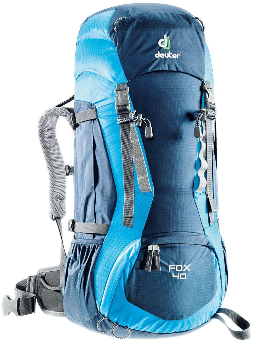 Рюкзак Deuter Fox 40, цвет: синий, темно-синий, 40 л36083_3306Deuter Fox оснащен продуманными деталями, которые есть в любом рюкзаке для серьезного похода. Fox готов, чтобы сопровождать подростков в любых приключениях. Кроме того, подвесная система растет вместе с юным владельцем: система Vari-Quick регулируется под рост. Цветовая гамма расширена, выбирай по вкусу. - Подвесная система Alpine Back - Система регулировки спинки VariQuick - Петли для крепления ледоруба / телескопических палок - боковые карманы в нижней части - боковые компрессионные ремни - петли daisy-chain для подвески снаряжения - карман на молнии в верхнем клапане - карман для мелких вещей под верхним клапаном - петли на верхнем клапане - дополнительный доступ в основное отделение в нижней части - система затяжки набедренного пояса Pull-Forward - крылья пояса с петлями для подвески снаряжения - свисток на нагрудном ремне - плечевые лямки с мягкими краями - совместимость с питьевой системой Материал: Ballistic /...