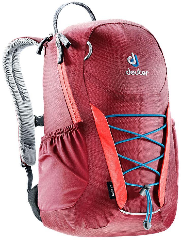 Рюкзак Deuter Gogo XS, цвет: бордовый, коралловый, 13 л3611017_5553- спина хорошо вентилируется благодаря системе Airstripes - для детей в возрасте от 5 лет - анатомические, мягкие плечевые лямки - удобный доступ в основное отделение с 2-ходовой полукруглой молнией - внешний карман на молнии - эластичные боковые карманы - плавно регулируемый грудной ремешок - отделение для мокрых вещей - эластичный шнур-стяжка на внешней стороне Вес: 330 г Объем: 13 л Размеры: 39 x 23 x 17 см Материал: Macro Lite 210