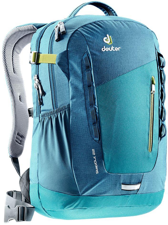 Рюкзак Deuter StepOut 22, цвет: голубой, темно-синий, 22 л3810415_3325- спинка Airstripes для великолепной вентиляции - очень комфортные, эргономичные, мягкие плечевые лямки - легкий доступ в основное отделение через двухходовую U-образную молнию - отделение для документов - отстегивающийся карабинчик для ключей - передний карман на молнии - эластичные боковые карманы - петля для габаритного фонарика - ручка для переноски - петли для навески - главное отделение под размер папки - дополнительное основное отделение под ноутбук размером 15,6 - внутренний карман для ценных вещей - один боковой карман на молнии - регулируемый нагрудный ремешок - съемный набедренный пояс Вес: 790 г Объем: 22 л Размеры: 46 x 30 x 19 см Материал: Super-Polytex/Macro Lite 210