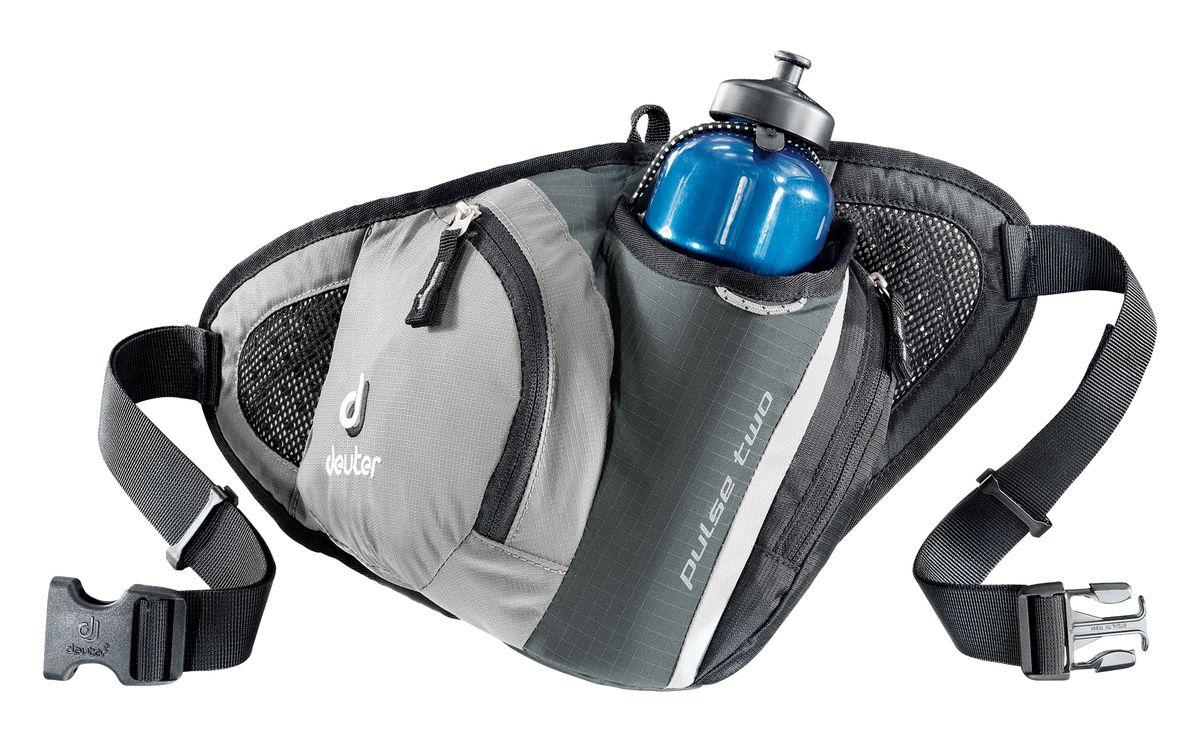 Сумка поясная Deuter Pulse Two, цвет: серый, черный39080_4700Во время лыжных прогулок, кросса по пересеченной местности, пешей прогулки или лёгкой утренней пробежки, вес поклажи должен быть минимизирован. Но в любом случае, вам, просто необходима сумка, куда можно убрать фляжку для питья, ключи, мобильный телефон и немного денег. Стильные и легкие сумки серии Pulse гарантируют размещение всего, что требуется. Объем: 1 л Вес: 190 гр Размеры: 40 x 21 x 9 (H x W x D) см. Материал: Deuter-Microrip-Nylon Deuter-Ripstop 210