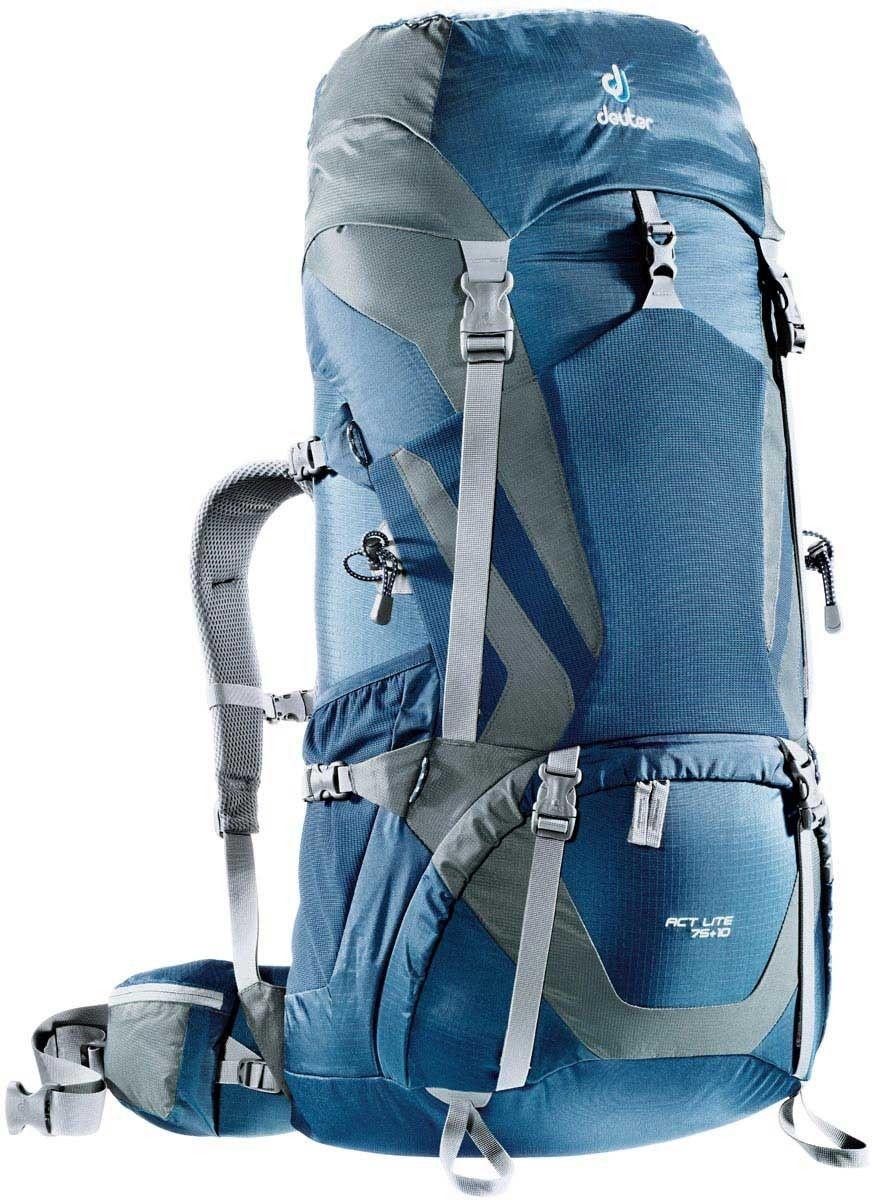 Рюкзак Deuter ACT Lite 75+10, цвет: темно-серый, темно-синий, 75 л4340315_3473Надежный вместительный рюкзак для путешествий и экспедиций: Совершенная подвеска с комфортной спинкой, прямой доступ в основное отделение – сочетание комфорта и функциональности. Благодаря подвижным набедренным крыльям Vari Flex, системе спинки Vari Quick и каркасу X-Frames, одна и та же система подвески подходит к любым грузам от средних до тяжёлых, оставаясь устойчивой, гибкой и эффективно распределяющей нагрузку. Система Aircontact с продуманной эргономичной системой подушек спинки очень хорошо сидит на спине и обеспечивает отличную вентиляцию со всех сторон. Модели SL разработаны специально для людей невысокого роста. - экономия энергии и комфорт, благодаря анатомическому подвижному набедренному поясу Vari Flex, отслеживающему любое ваше движение - компрессионные ремни на набедренных крыльях для точной регулировки положения груза - поясная застёжка Pull-Forward легко регулируется даже под тяжёлым грузом - прочный сотовый алюминиевый X-образный каркас передает...