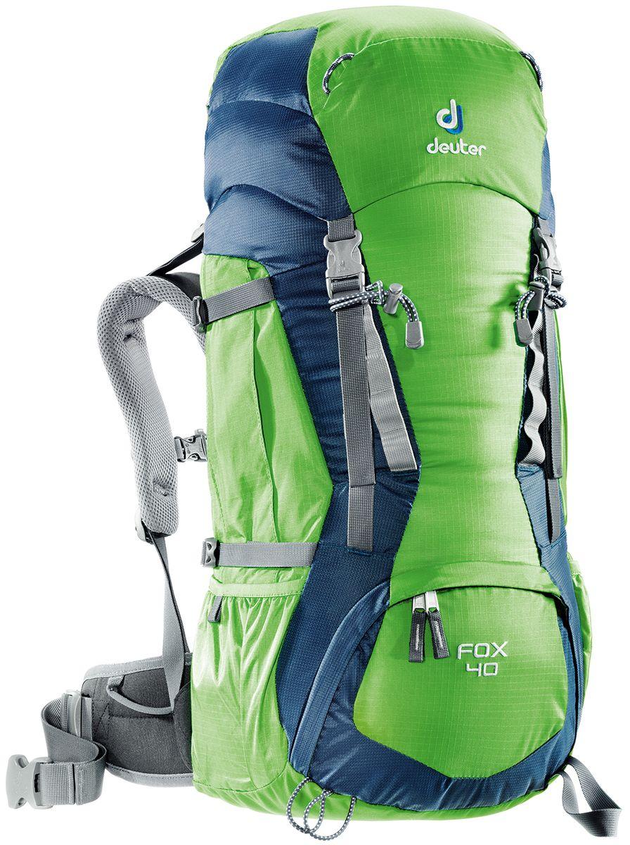 Рюкзак Deuter Fox 40, цвет: зеленый, темно-синий, 40 л36083_2304Deuter Fox оснащен продуманными деталями, которые есть в любом рюкзаке для серьезного похода. Fox готов, чтобы сопровождать подростков в любых приключениях. Кроме того, подвесная система растет вместе с юным владельцем: система Vari-Quick регулируется под рост. Цветовая гамма расширена, выбирай по вкусу. - Подвесная система Alpine Back - Система регулировки спинки VariQuick - Петли для крепления ледоруба / телескопических палок - боковые карманы в нижней части - боковые компрессионные ремни - петли daisy-chain для подвески снаряжения - карман на молнии в верхнем клапане - карман для мелких вещей под верхним клапаном - петли на верхнем клапане - дополнительный доступ в основное отделение в нижней части - система затяжки набедренного пояса Pull-Forward - крылья пояса с петлями для подвески снаряжения - свисток на нагрудном ремне - плечевые лямки с мягкими краями - совместимость с питьевой системой Материал: Ballistic /...
