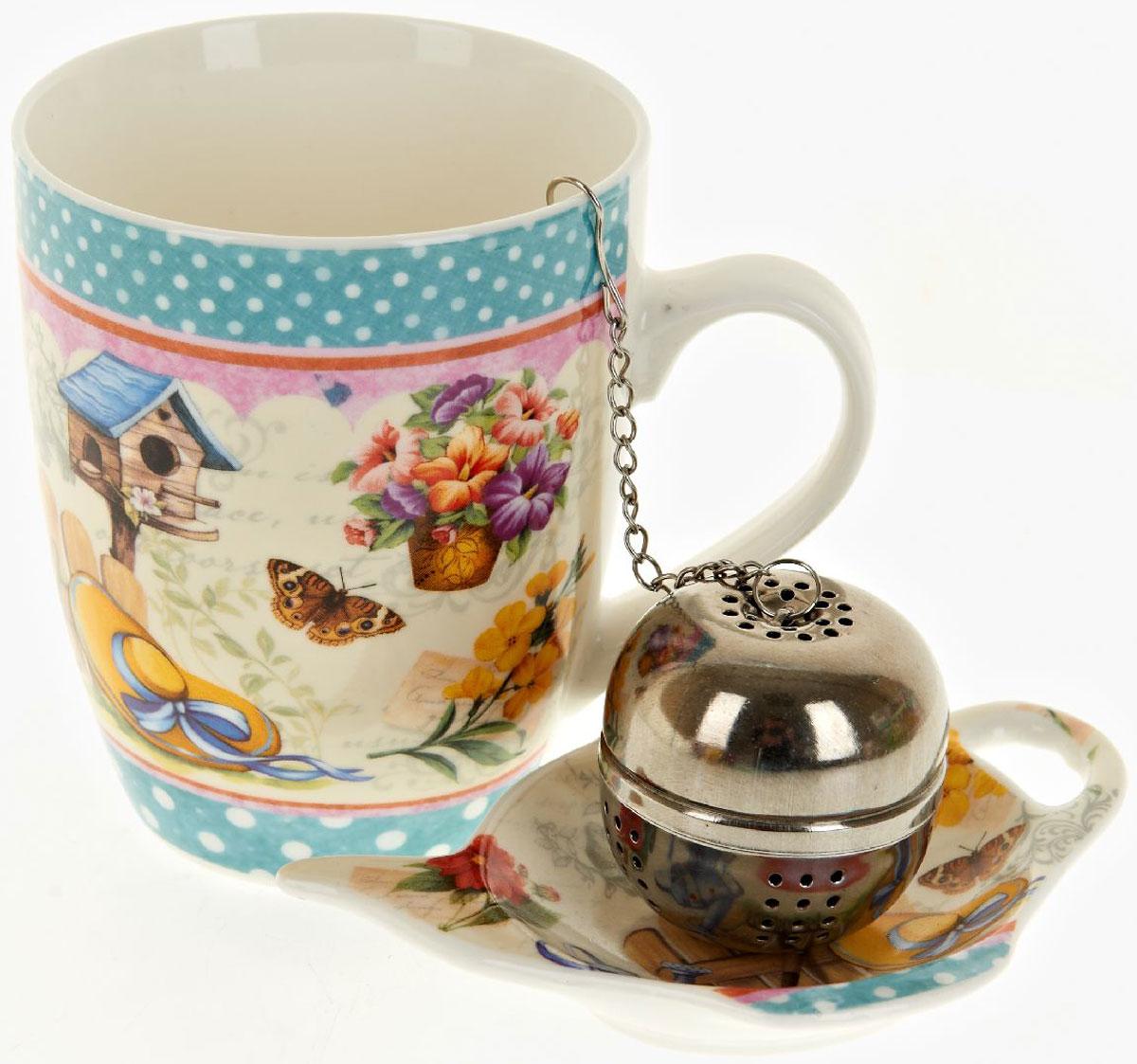 Кружка Nouvelle De France Сад, с фильтром, с подставкой под чайный пакетик, 340 млM0661241Оригинальная кружка Nouvelle с ситечком для заварки и подставкой под чайный пакетик, выполненная из высококачественного фарфора, сочетает в себе изысканный дизайн с максимальной функциональностью. Красочность оформления кружки придется по вкусу и ценителям классики, и тем, кто предпочитает утонченность и изысканность. В комплект входит кружка, ситечко и подставка. Можно использовать в ПММ.