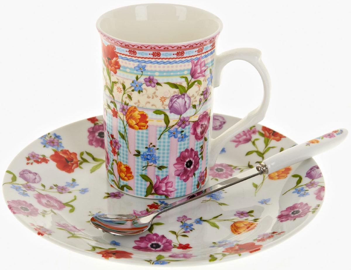 Чайная пара Nouvelle De France Разноцветные тюльпаны, с ложкой, 3 предметаM0661287Оригинальная фарфоровая кружка Nouvelle с ложкой + десертная тарелка, выполненная из высококачественной керамики, сочетает в себе изысканный дизайн с максимальной функциональностью. Красочность оформления кружки придется по вкусу и ценителям классики, и тем, кто предпочитает утонченность и изысканность. В комплект входит кружка и ложка и десертная тарелка. Можно использовать в ПММ.