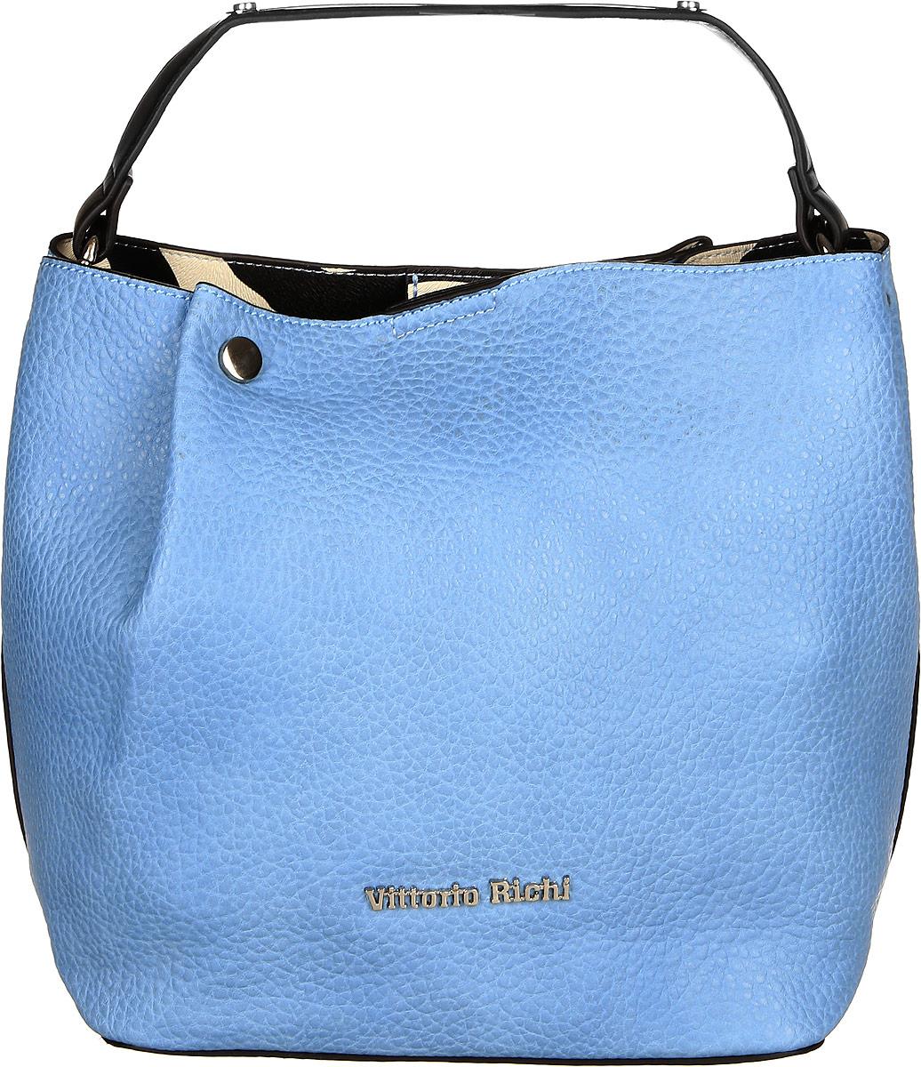 Сумка женская Vittorio Richi, цвет: голубой. 913304913304 azzurroСумка из экокожи на магнитной кнопке. Внутри подкладка из искусственной кожи, одно открытое отделение для мелочей. В комплекте наплечный ремень. Высота ручек 10см.