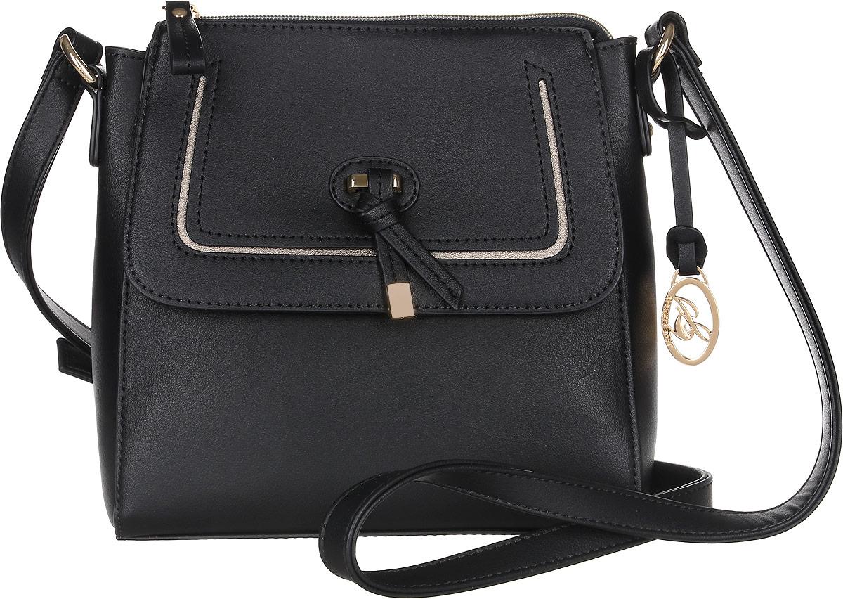 Сумка женская Jane Shilton, цвет: черный. 23162316blПрекрасная сумочка на длинном регулируемом ремне. Застежкой на молнию. Внутри потайной кармашек на молнии и для мобильного телефона. Спереди карман на магните с клапаном.