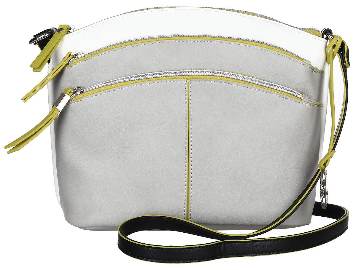 Сумка женская Jane Shilton, цвет: серый. 23232323m_greyОригинальная сумочка на длинном регулируемом ремне. Застежка на молнию. Спереди два кармана на молнии. Внутри потайной кармашек на молнии.
