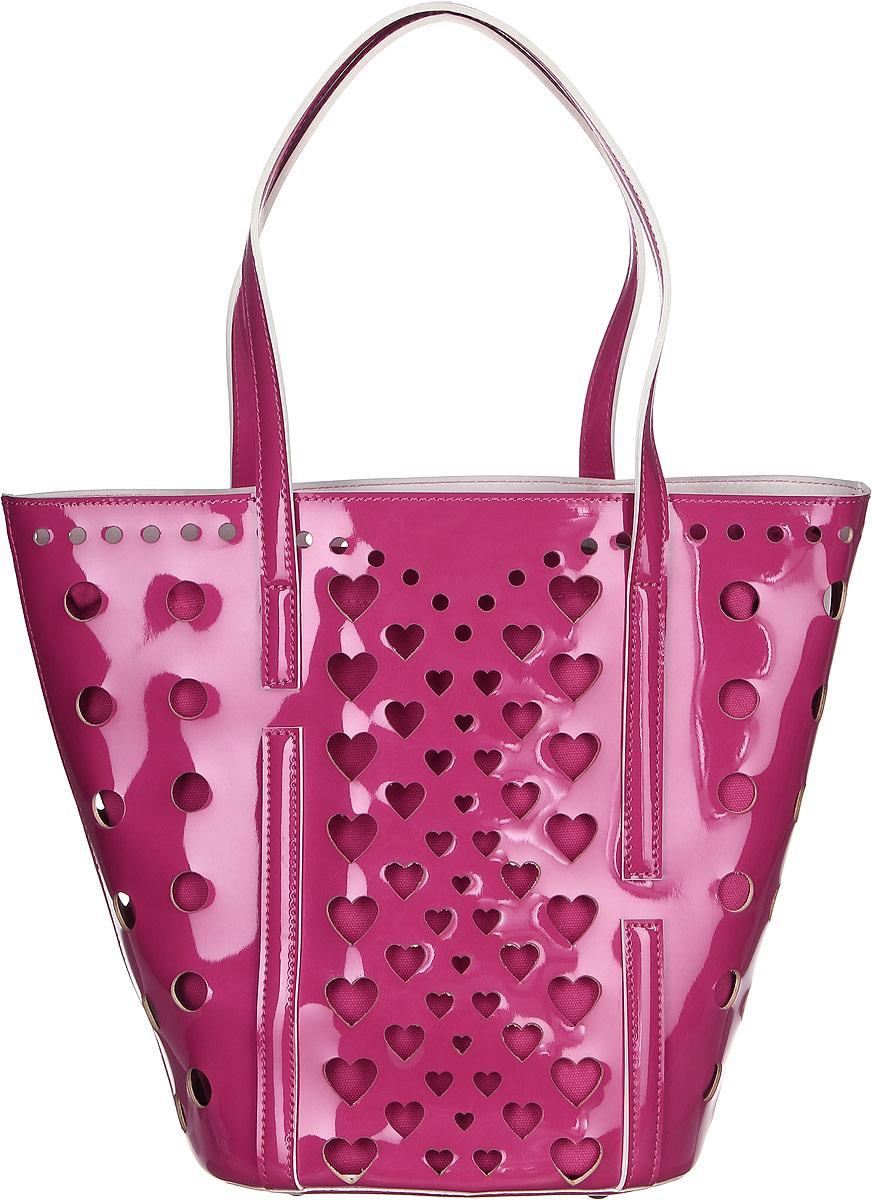 Сумка женская Vittorio Richi, цвет: малиново-пурпурный. 913118913118 fuxiaСумка из экокожи с перфорацией. Внутри текстильный мешок на затяжках. Высота ручек 21см.