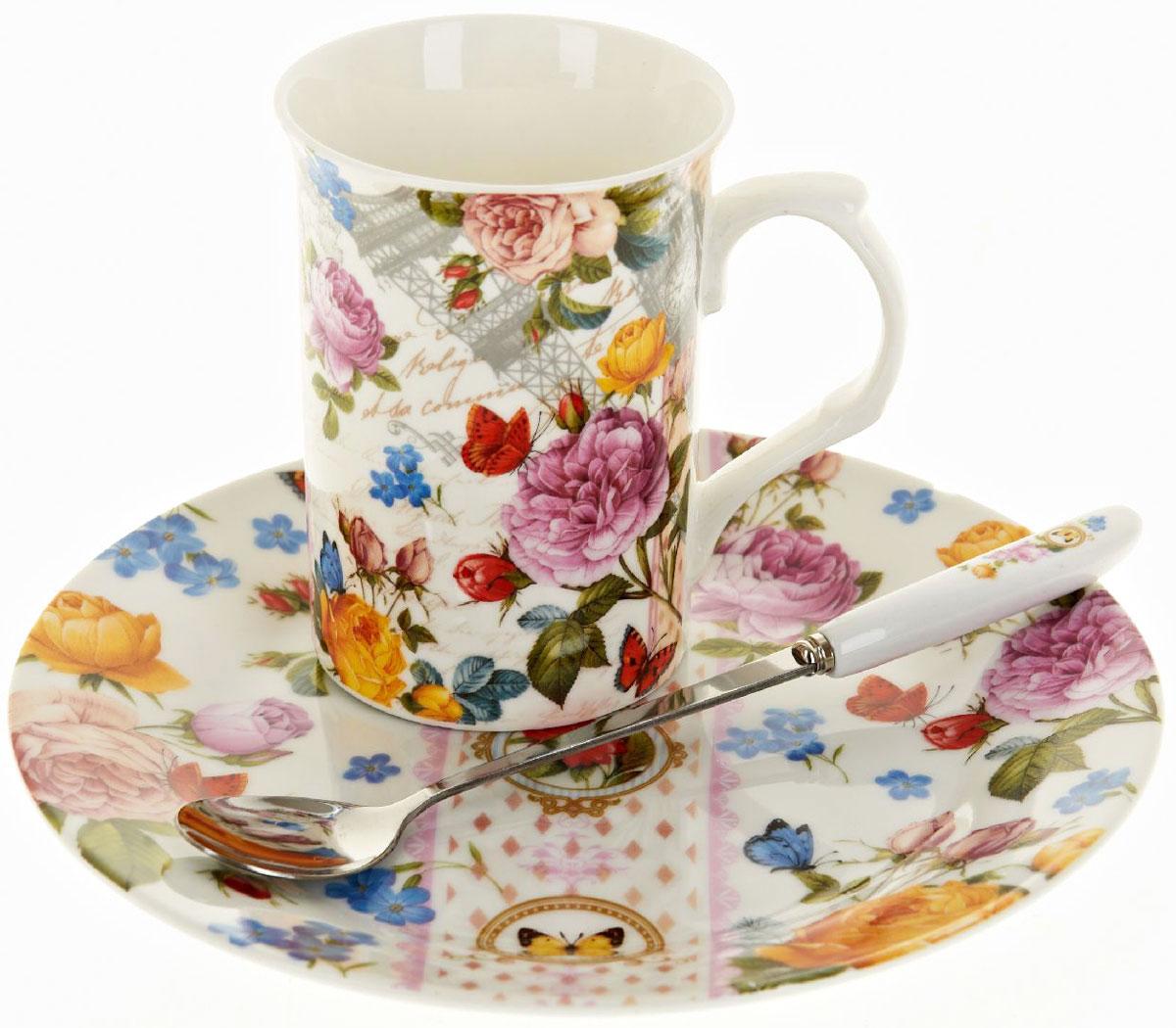 Чайная пара Nouvelle De France Лето в Европе, с ложкой, 3 предметаM0661286Оригинальная фарфоровая кружка Nouvelle с ложкой + десертная тарелка, выполненная из высококачественной керамики, сочетает в себе изысканный дизайн с максимальной функциональностью. Красочность оформления кружки придется по вкусу и ценителям классики, и тем, кто предпочитает утонченность и изысканность. В комплект входит кружка и ложка и десертная тарелка. Можно использовать в ПММ.