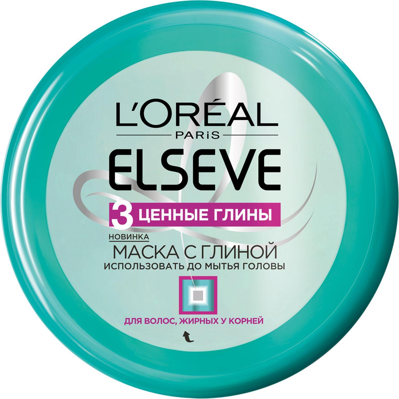 LOreal Paris Elseve Маска с глиной Эльсев, 3 Ценные Глины, для волос, жирных у корней и сухих на кончиках, 150 мл