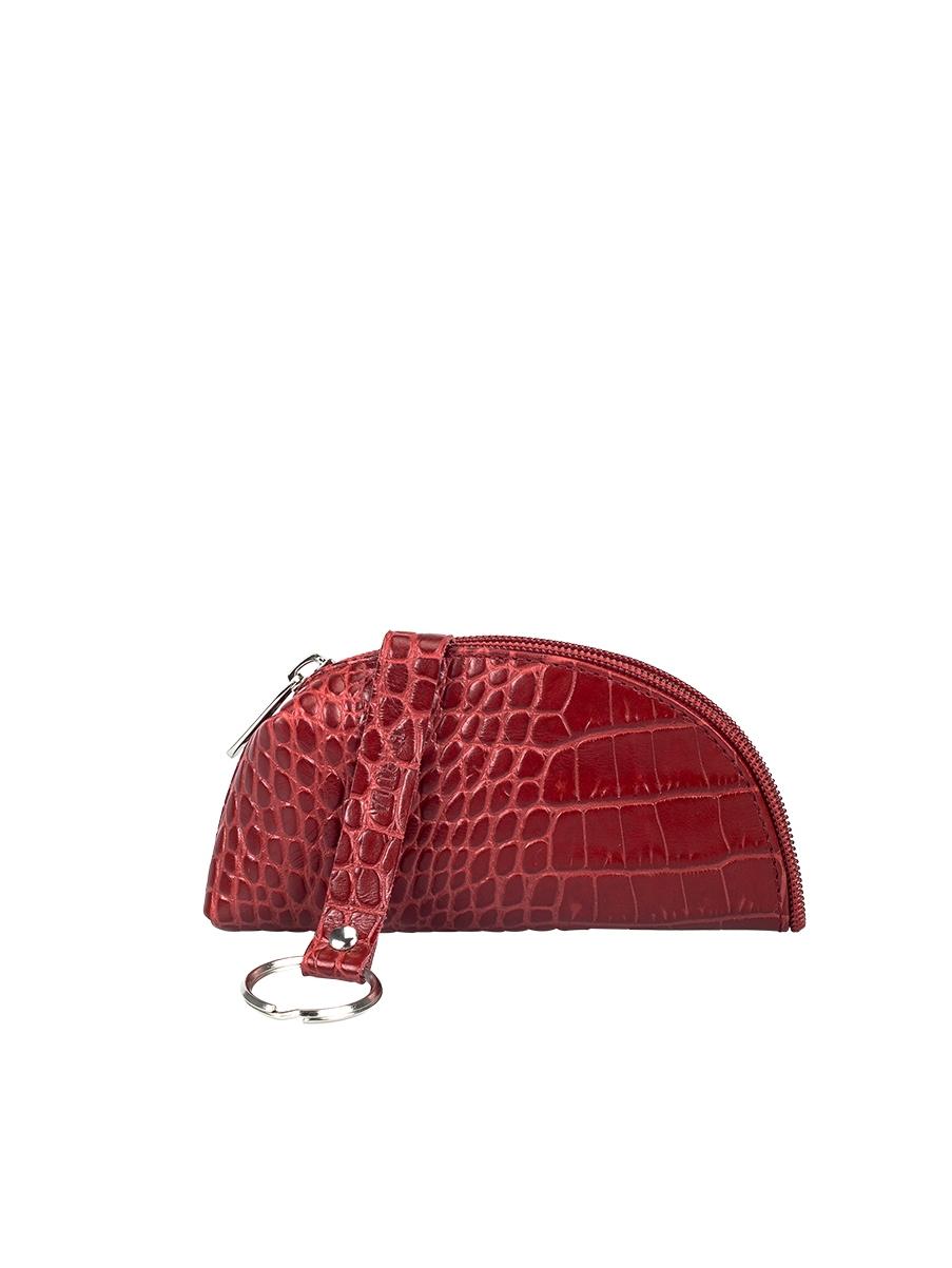 Ключница женская Fabula Croco Nile, цвет: красный. KL.39.KRKL.39.KR.макКлючница оригинальной формы из коллекции «Croco Nile» выполнена из натуральной кожи. Закрывается на молнию. Внутри О-образное кольцо для ключей на длинном кожаном ремешке.