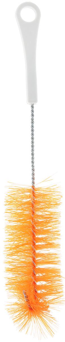 Ершик для бутылок Svip, цвет: оранжевый, длина 28,5 смSV3848_оранжевыйЕршик Svip предназначен для мытья бутылок, банок, термосов и других предметов. Изделие оснащено износостойкой щетиной средней жесткости, выполненной из сложных полимеров и закрепленной на металлическом крученом стержне. Эргономичная рукоятка, изготовленная из полипропилена (пластика), оснащена отверстием для подвешивания. Длина ершика: 28,5 см, Размер щетины: 14 х 5 х 5 см.