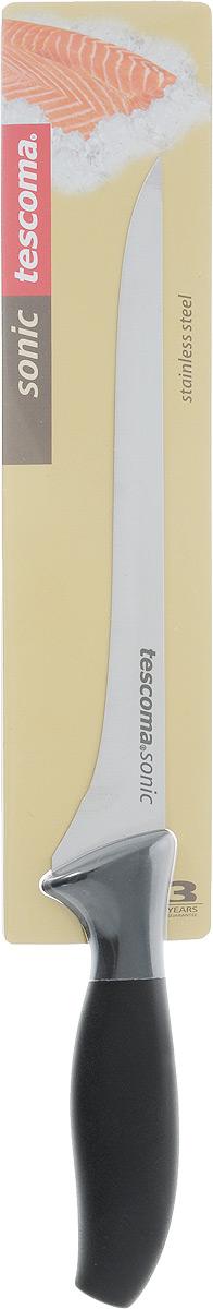 Нож для тонкой нарезки Tescoma Sonic, длина лезвия 18 см862038Длинный нож Tescoma Sonic для тонкой нарезки предназначен для нарезания мяса или рыбы очень тонкими ломтиками. В европейской кухне таким ножом нарезают готовые мясные или рыбные деликатесы, а в японской кухне это может быть и сырая рыба. Этот нож имеет длинное, неширокое полотно с центральным острием. Не имеет зубчиков - только ровная и качественная сталь. Его форма и конструкции не дает продуктам прилипать к лезвию. Лезвие ножа, выполнено из высококачественной нержавеющей стали, обладающей высокой твердостью и устойчивостью к коррозии. Эргономичная ручка, изготовленная из прочного пластика, позволяет держать нож свободно и максимально удобно. Длина лезвия: 18 см. Общая длина ножа: 30,5 см.