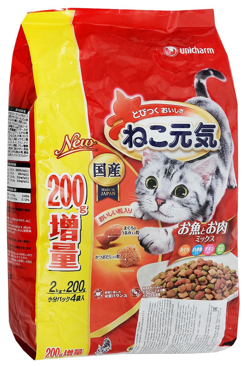 Корм сухой Unicharm Cat Genki для взрослых кошек, с тунцом, белой рыбой, курицей и овощами, 2,2 кг678817Сухой корм для взрослых кошек Unicharm Cat Genki отличается разнообразием ингредиентов, богатых витаминами и минералами и полностью удовлетворяет энергетические и пищевые потребности взрослой кошки. Курица, основной ингредиент, представляет собой изысканный источник белка для развития крепких и здоровых мышц, а содержание тунца улучшает метаболизм. Корм специально разработан для укрепления основных защитных систем кошки - иммунной, пищеварительной, выделительной. содержание такого важного компонента, как таурин, предотвращает появление проблем зрения у кошки, защищает сердце и легкие. Корм служит профилактикой заболеваний мочевыводящих путей у кошек и поддерживает репродуктивную деятельность животного. Unicharm Cat Genki - это натуральное, вкусное и полезное питание для вашего питомца. Товар сертифицирован.