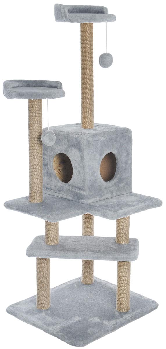 Игровой комплекс для кошек Меридиан Лестница, цвет: светло-серый, бежевый, 56 х 50 х 142 смД151ССИгровой комплекс для кошек Меридиан Лестница выполнен из высококачественного ДВП и ДСП и обтянут искусственным мехом. Изделие предназначено для кошек. Ваш домашний питомец будет с удовольствием точить когти о специальные столбики, изготовленные из джута. А отдохнуть он сможет либо на полках, либо в домике. Общий размер: 56 х 50 х 142 см. Размер верхних полок: 27 х 27 см. Размер домика: 31 х 31 х 32 см.
